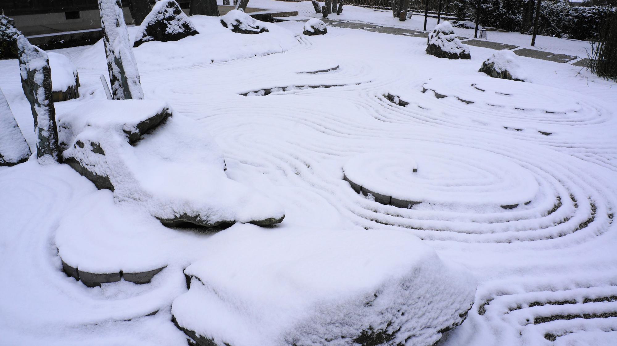 雪に覆われた白い龍が現れる圓光寺