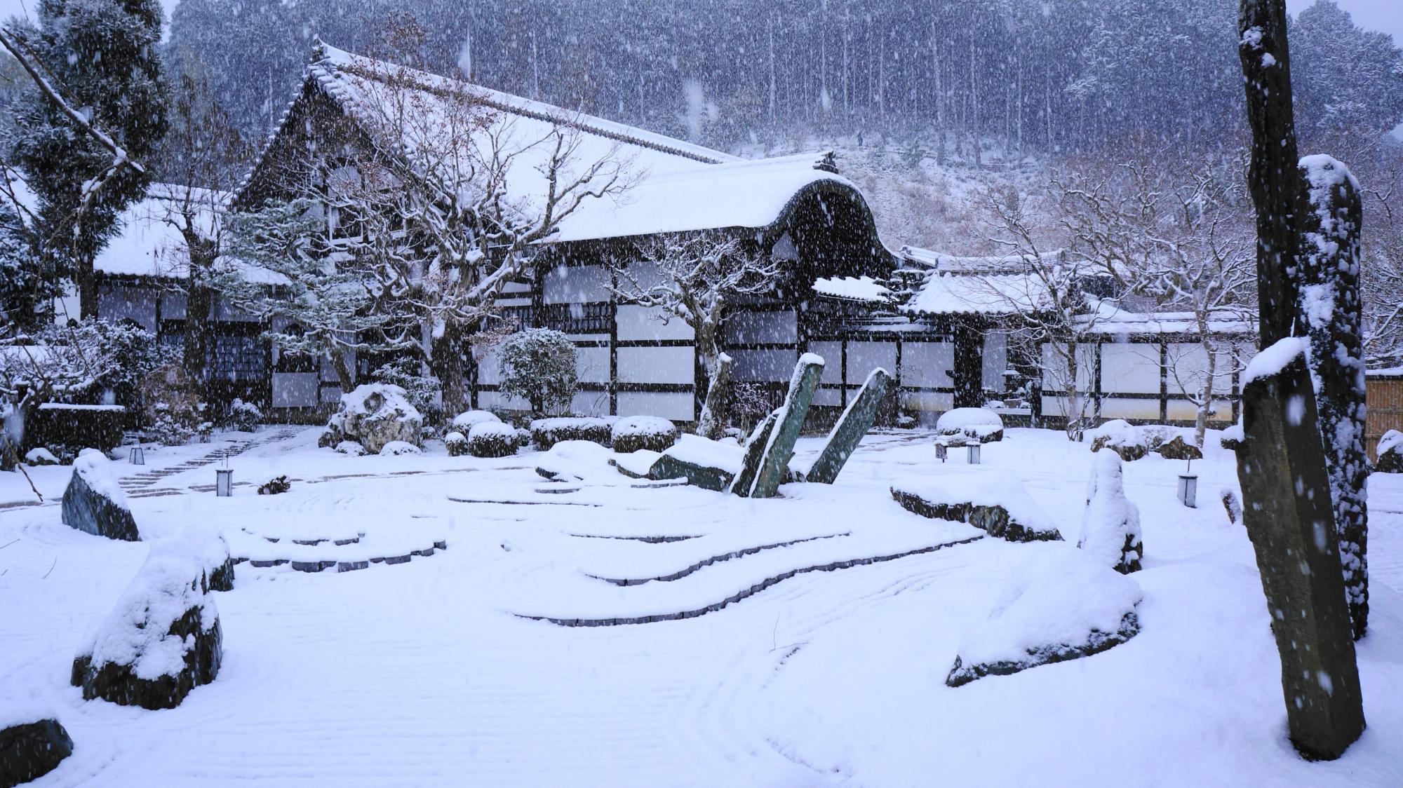 圓光寺の見事な白銀の奔龍庭