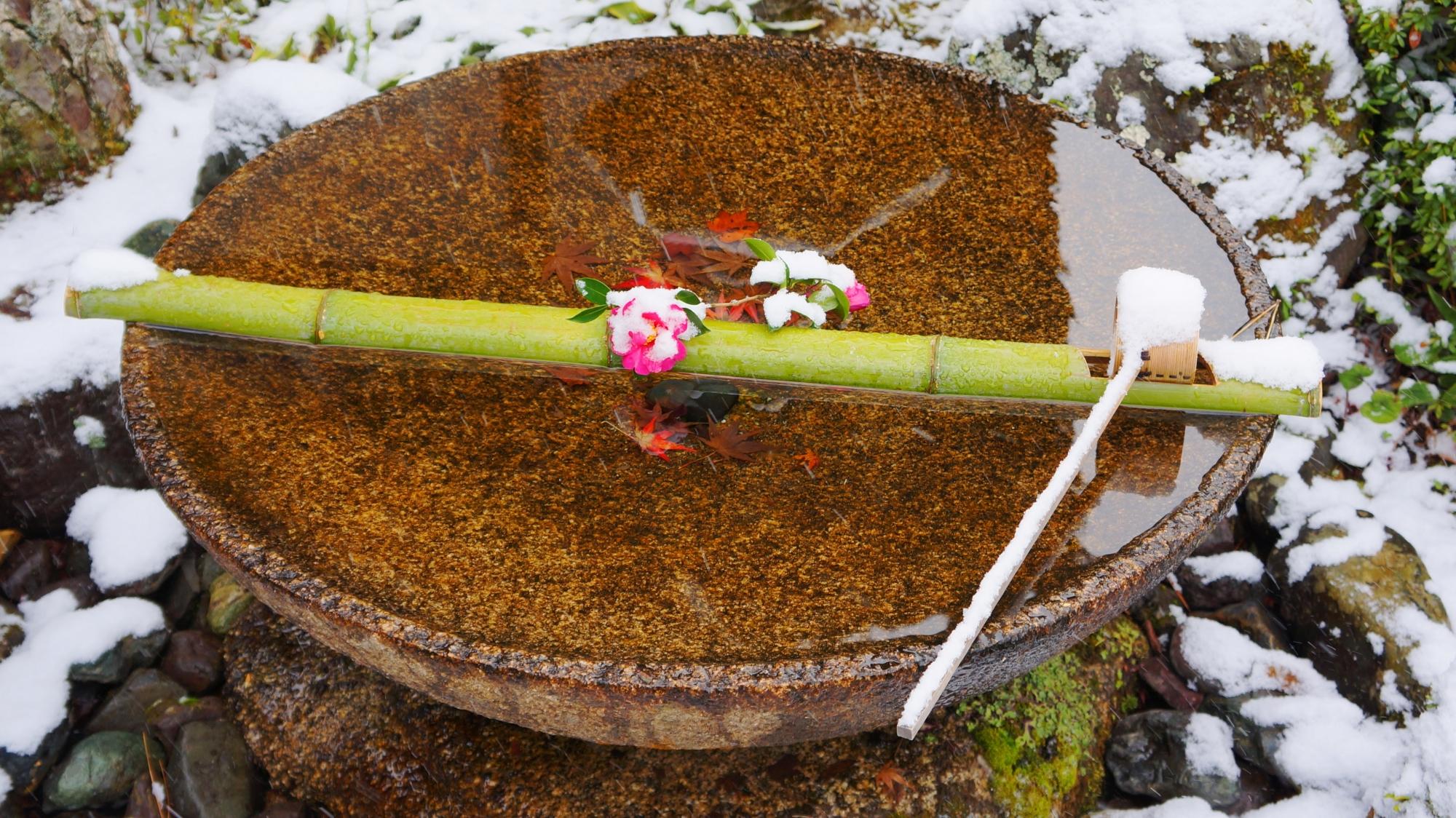 圓光寺の雪をかぶった水琴窟