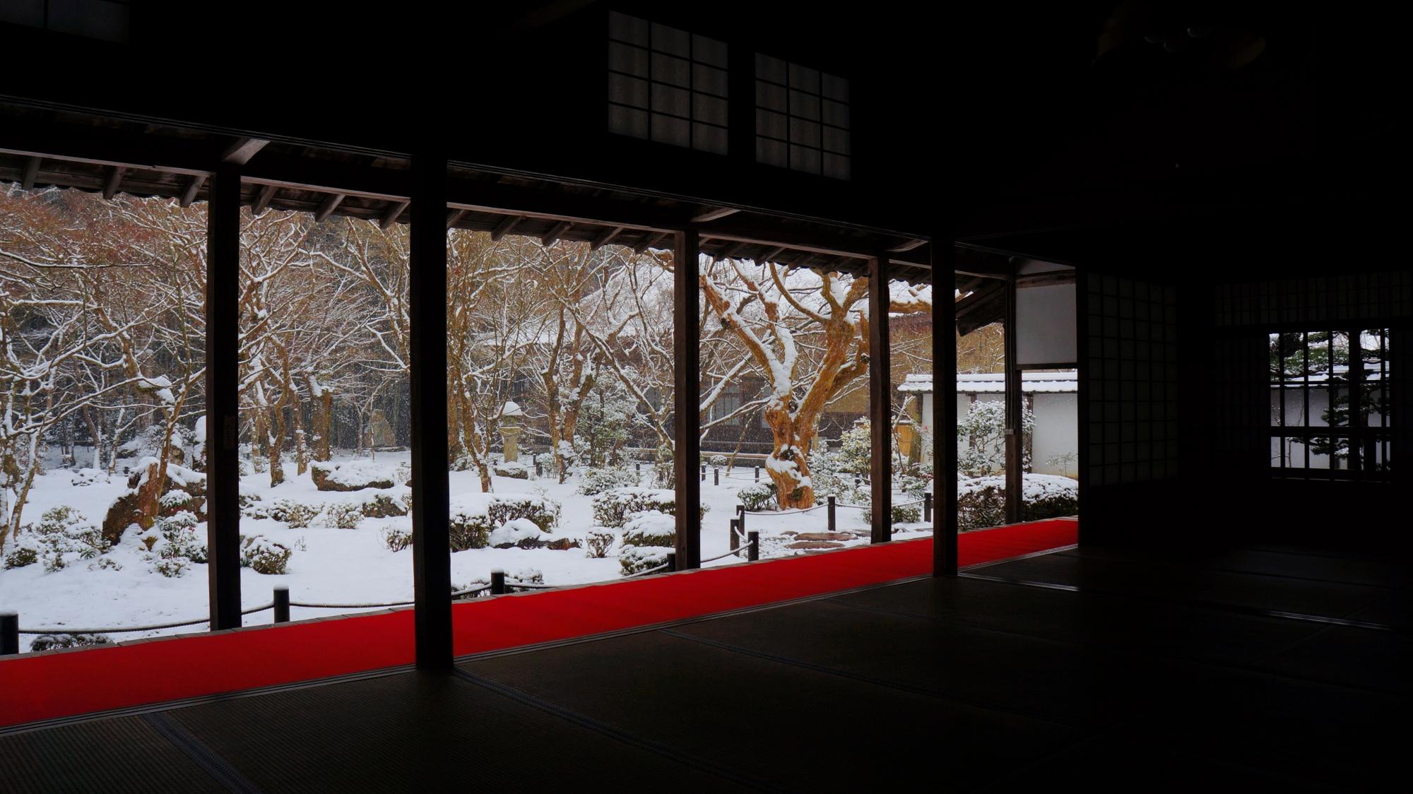 静寂と雪につつまれた見事な十牛之庭の冬景色