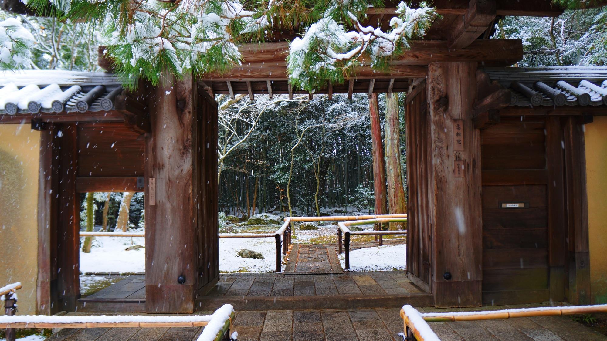 高桐院の表門の雪景色