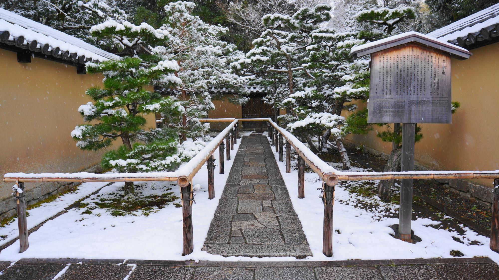 高桐院の表門前の雪景色