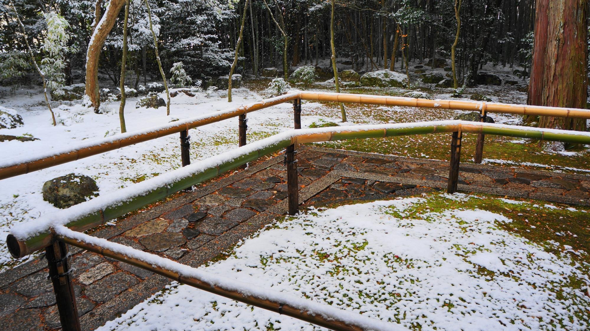 手摺の竹にも白い雪が積もる参道