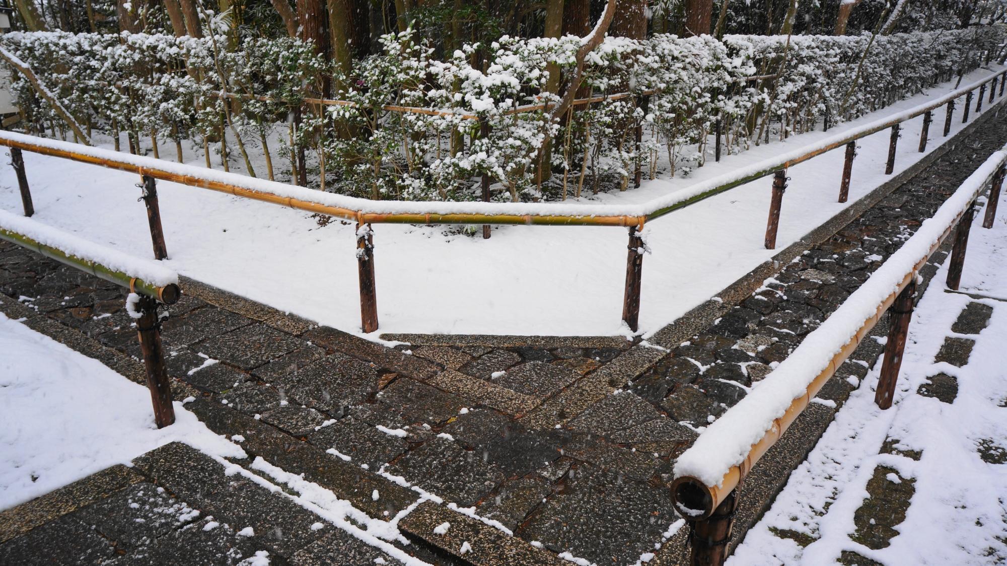 唐門付近の参道の雪景色