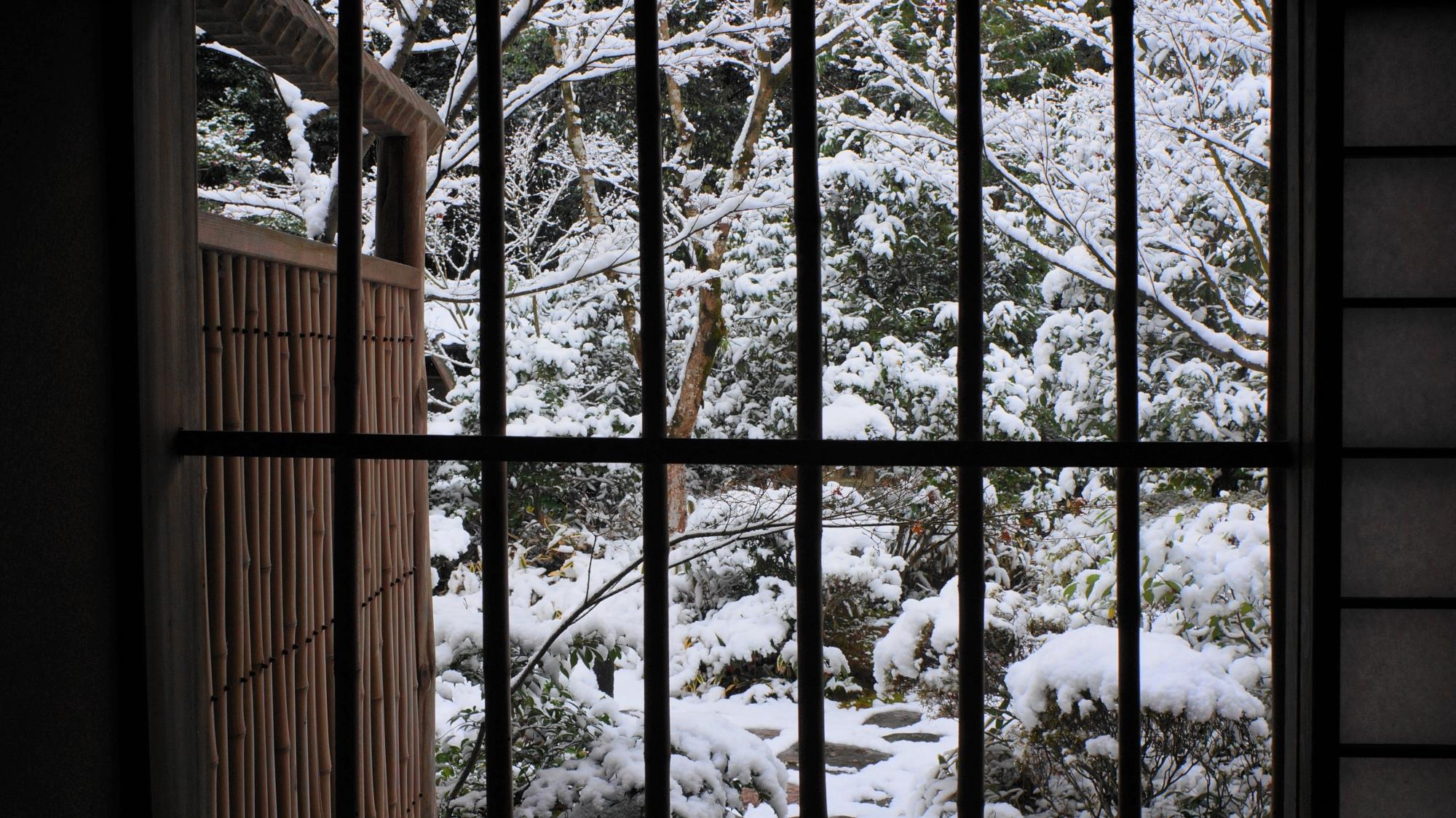 格子越し眺めた雪の庭園