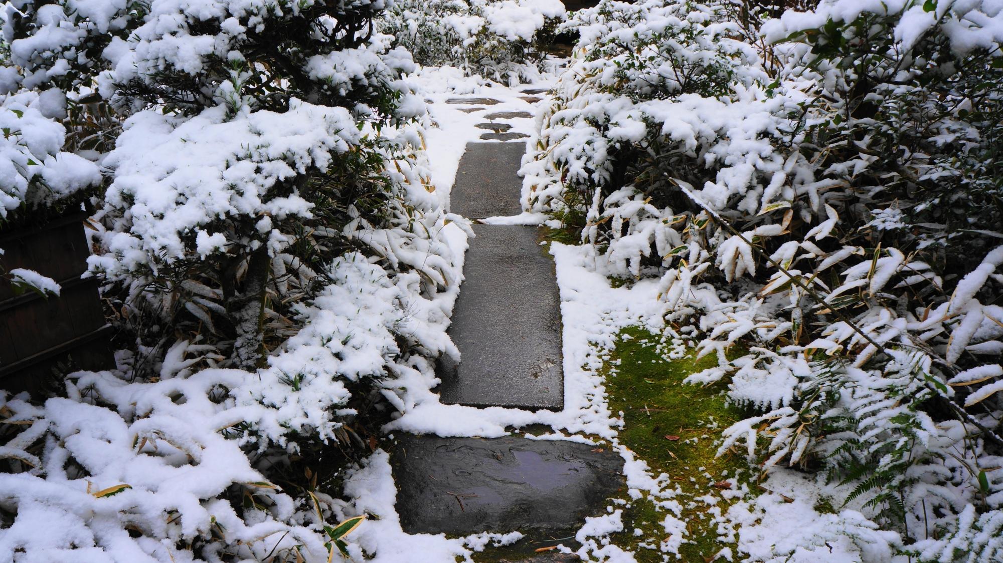 様々な形や大きさの飛び石が配された雪の参道