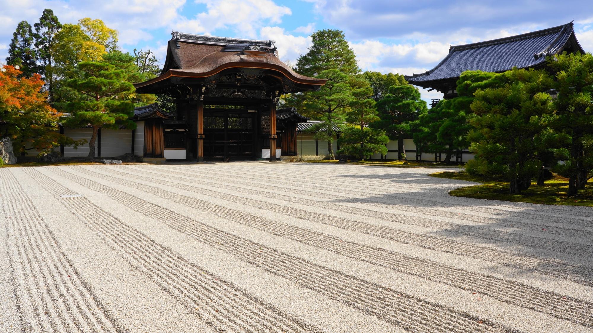 紅葉もあるが常緑の木々が多い仁和寺の御殿南庭