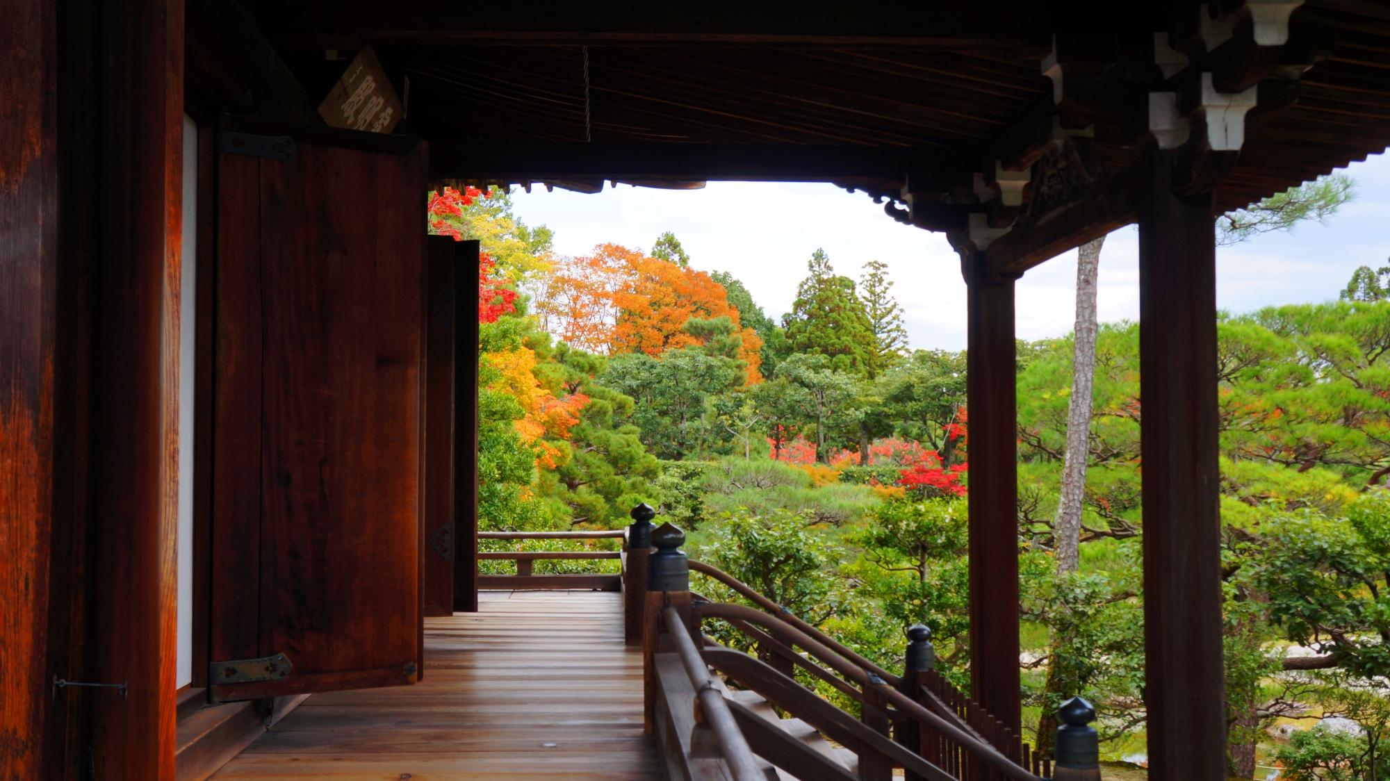 霊明殿と溢れる多様な緑と紅葉
