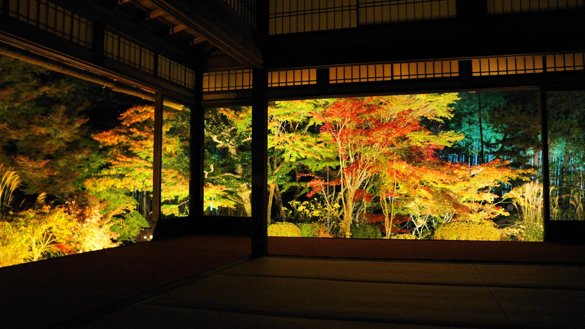 浮かび上がる天寿庵の幻想的な光景