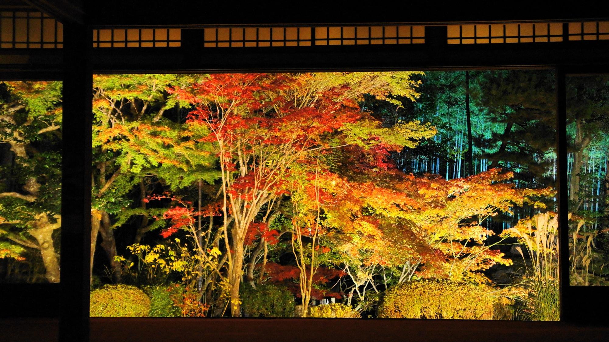 幻想的な夜の額縁の天寿庵書院南庭