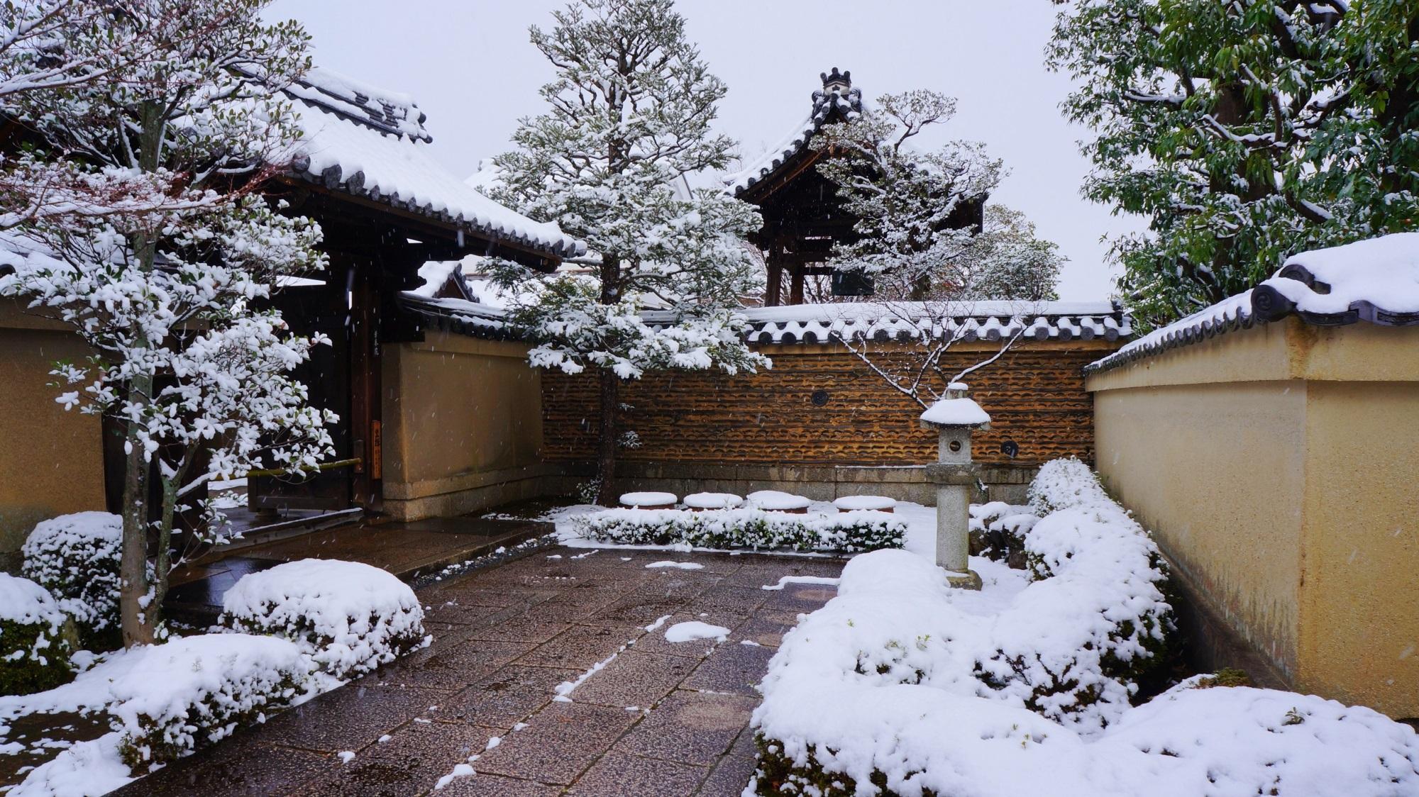 芳春院 雪 風情ある参道と土塀の冬景色