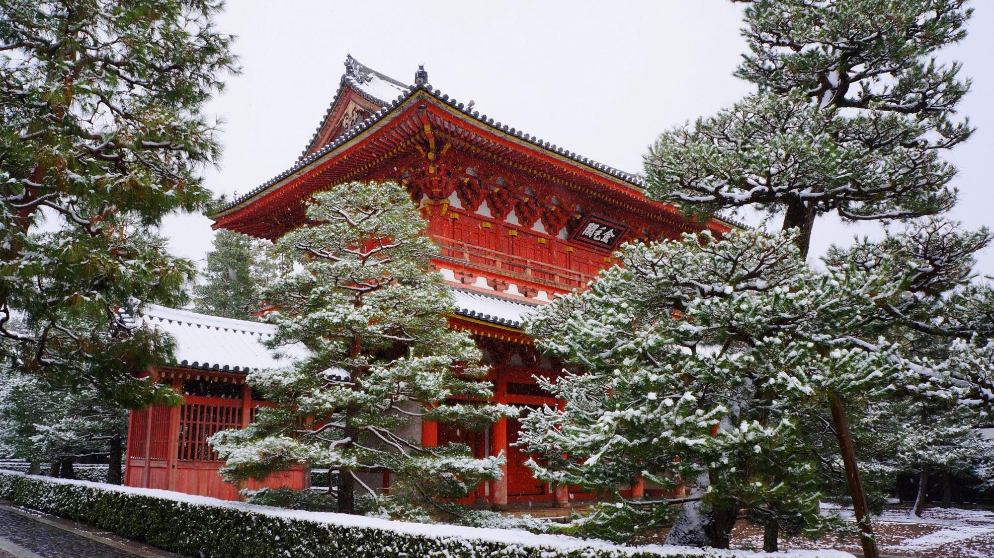大徳寺 雪 朱色の門を染める白い雪景色