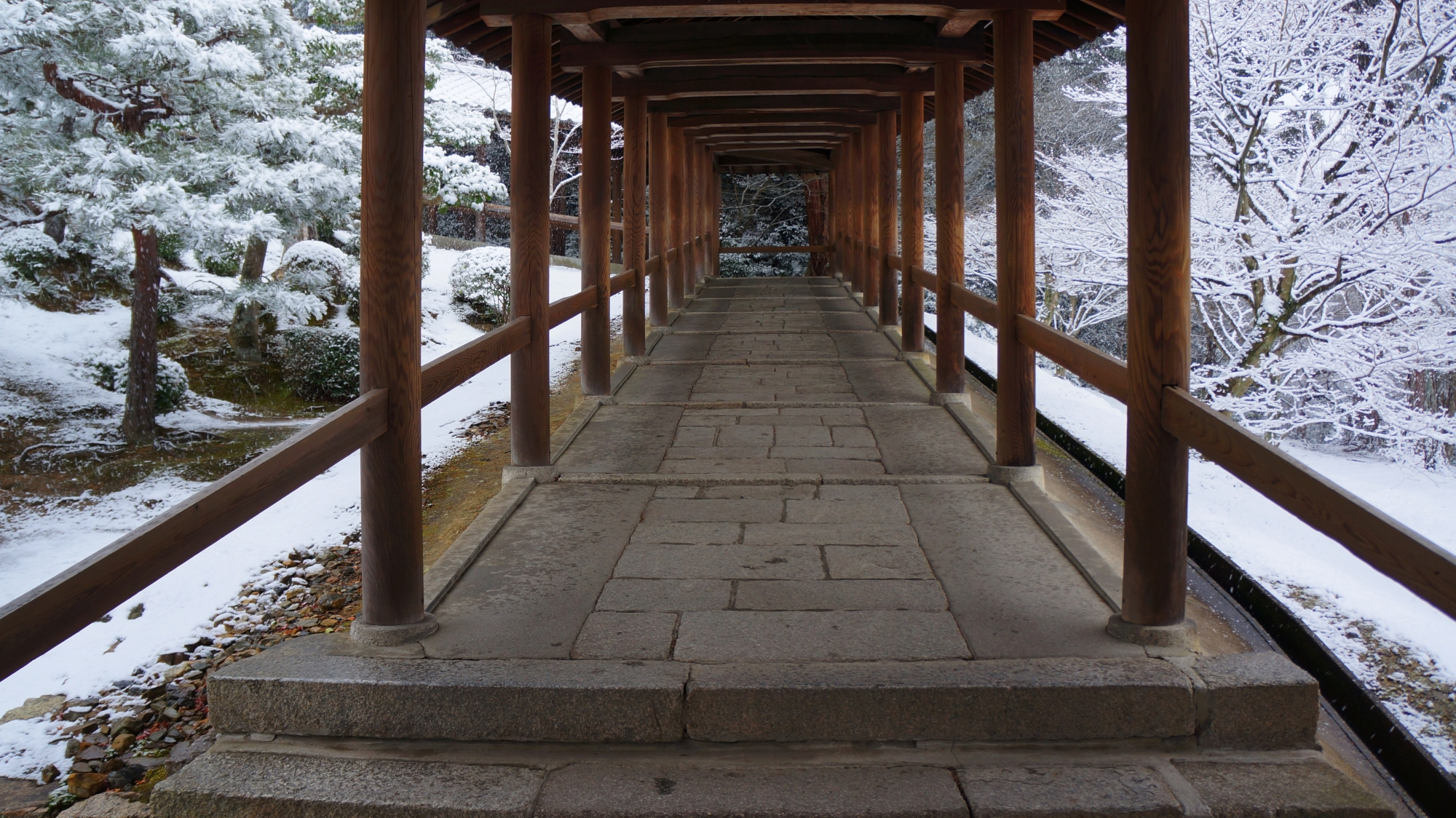 開山堂手前の回廊の雪景色