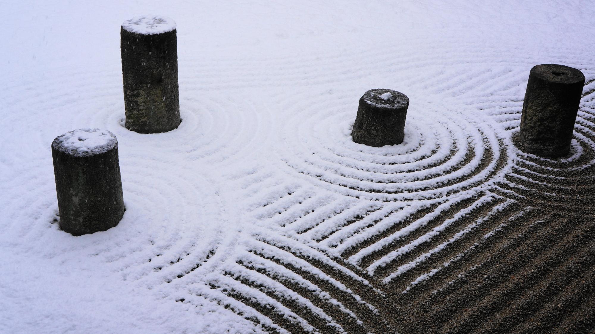 東福寺方丈庭園の絶妙な雪化粧