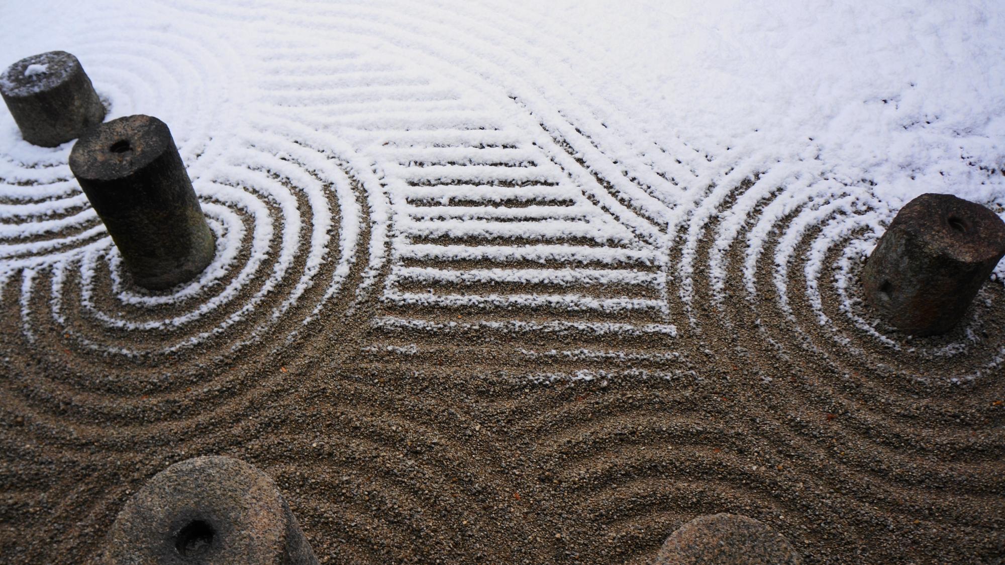 高画質 写真 東福寺方丈東庭 雪