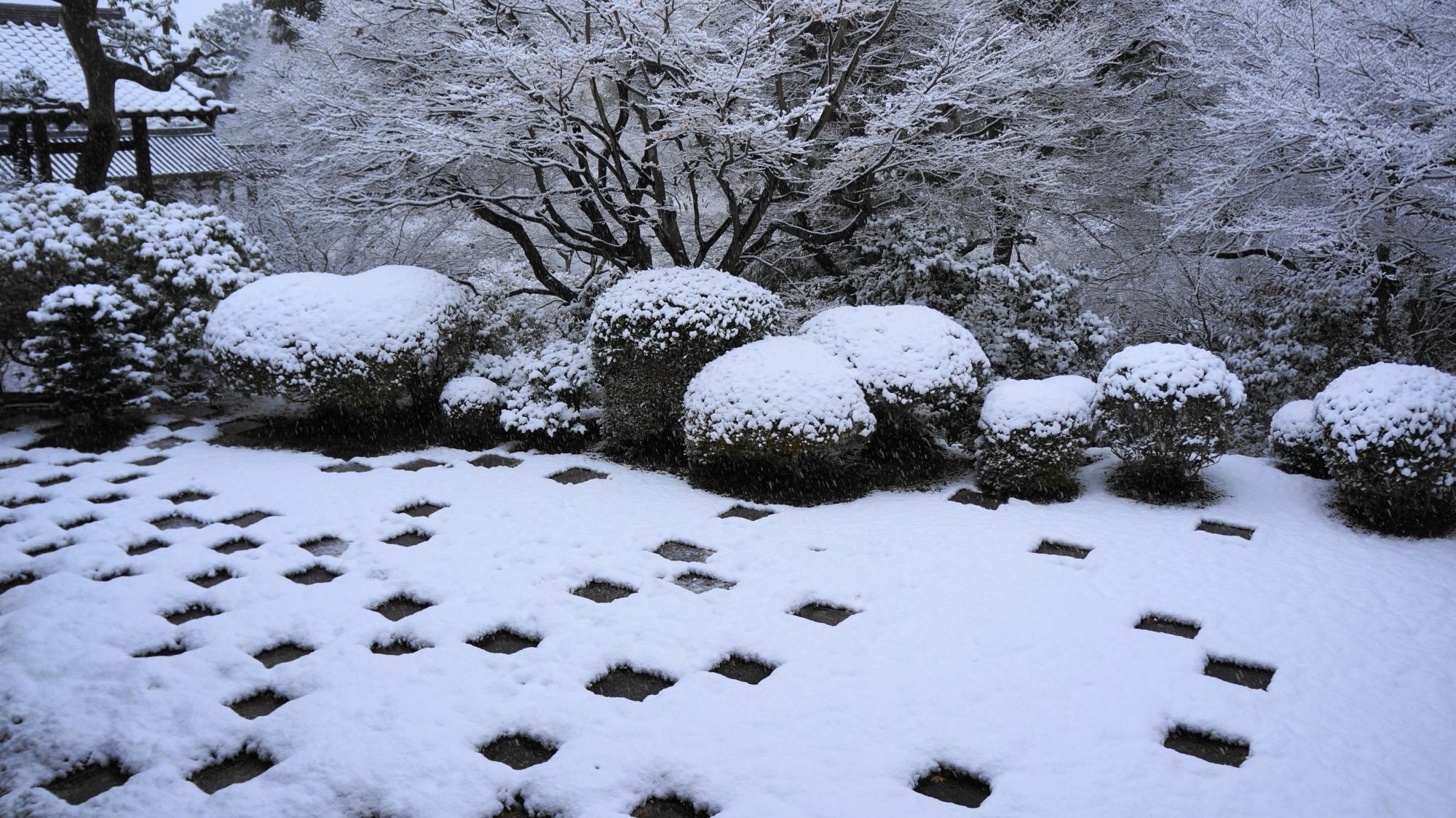 東福寺の市松模様(チェック柄)の苔の庭園