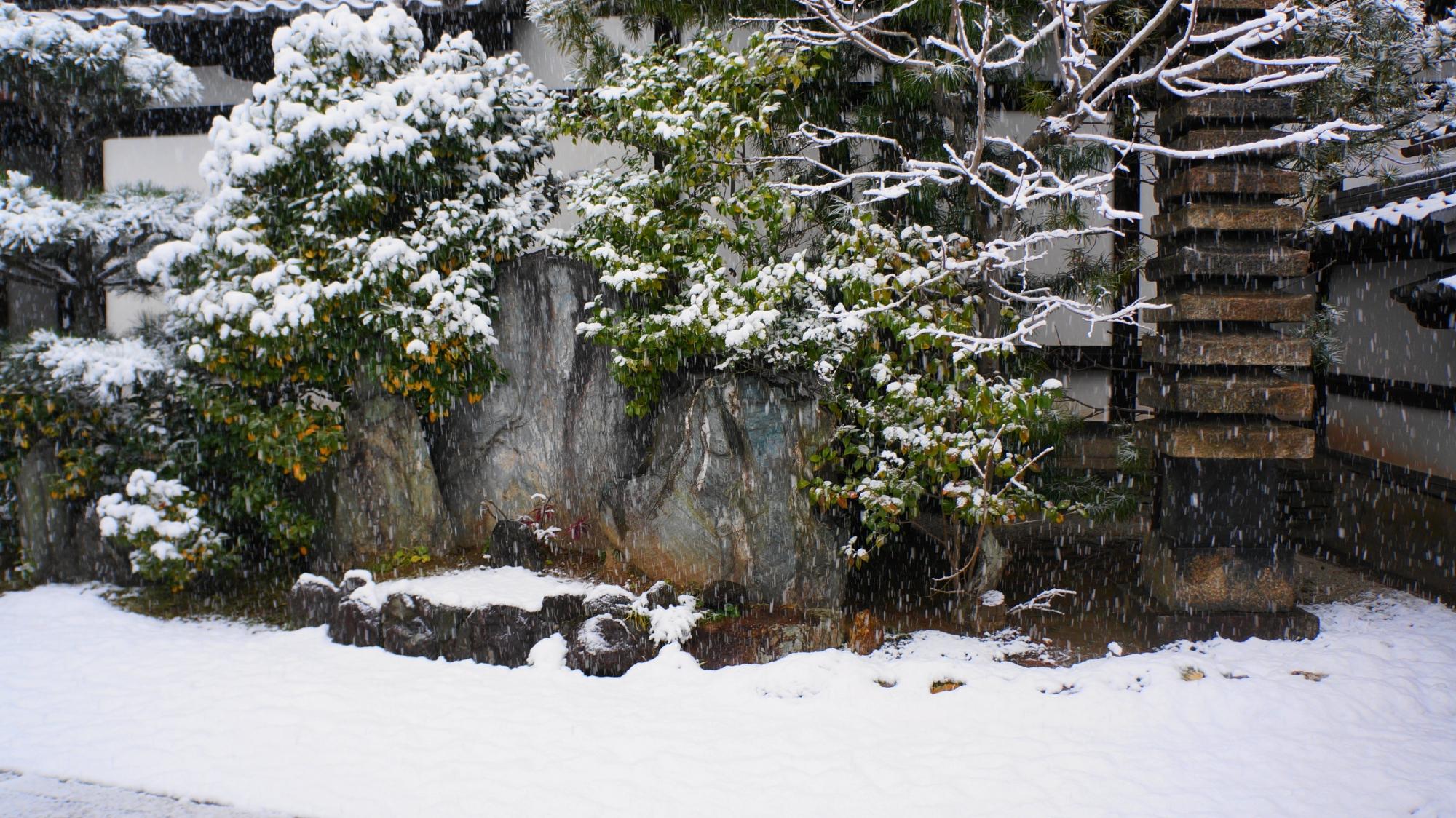 石塔や岩も白く染まった玄関前の雪景色