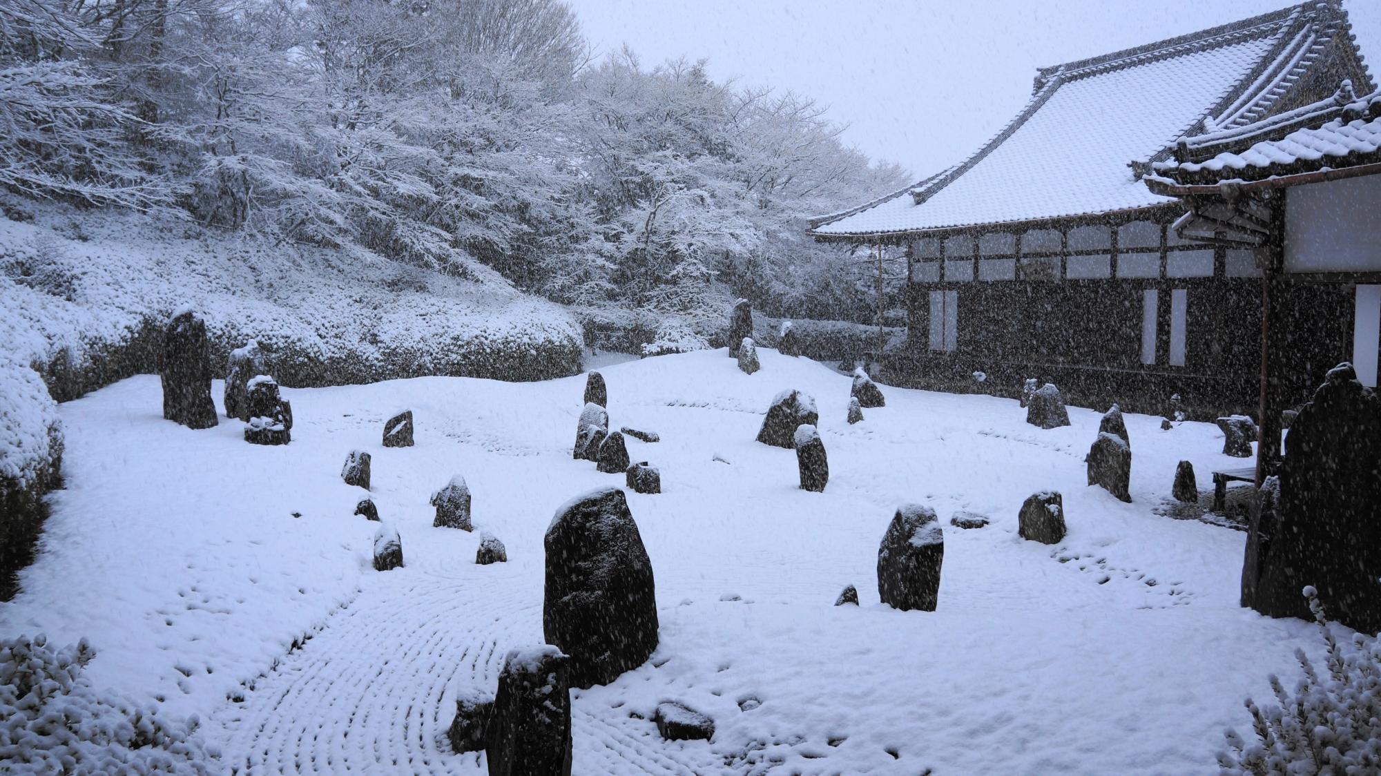 光明院の「波心庭(波心の庭)」の雪景色
