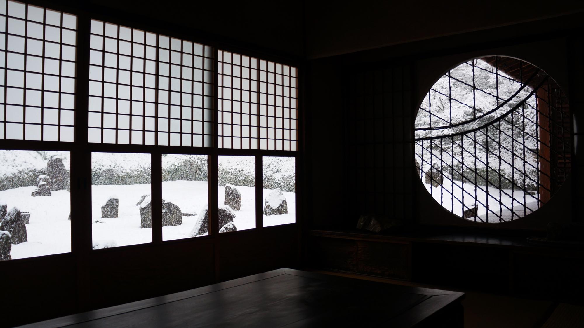 光明院の素晴らしい雪景色