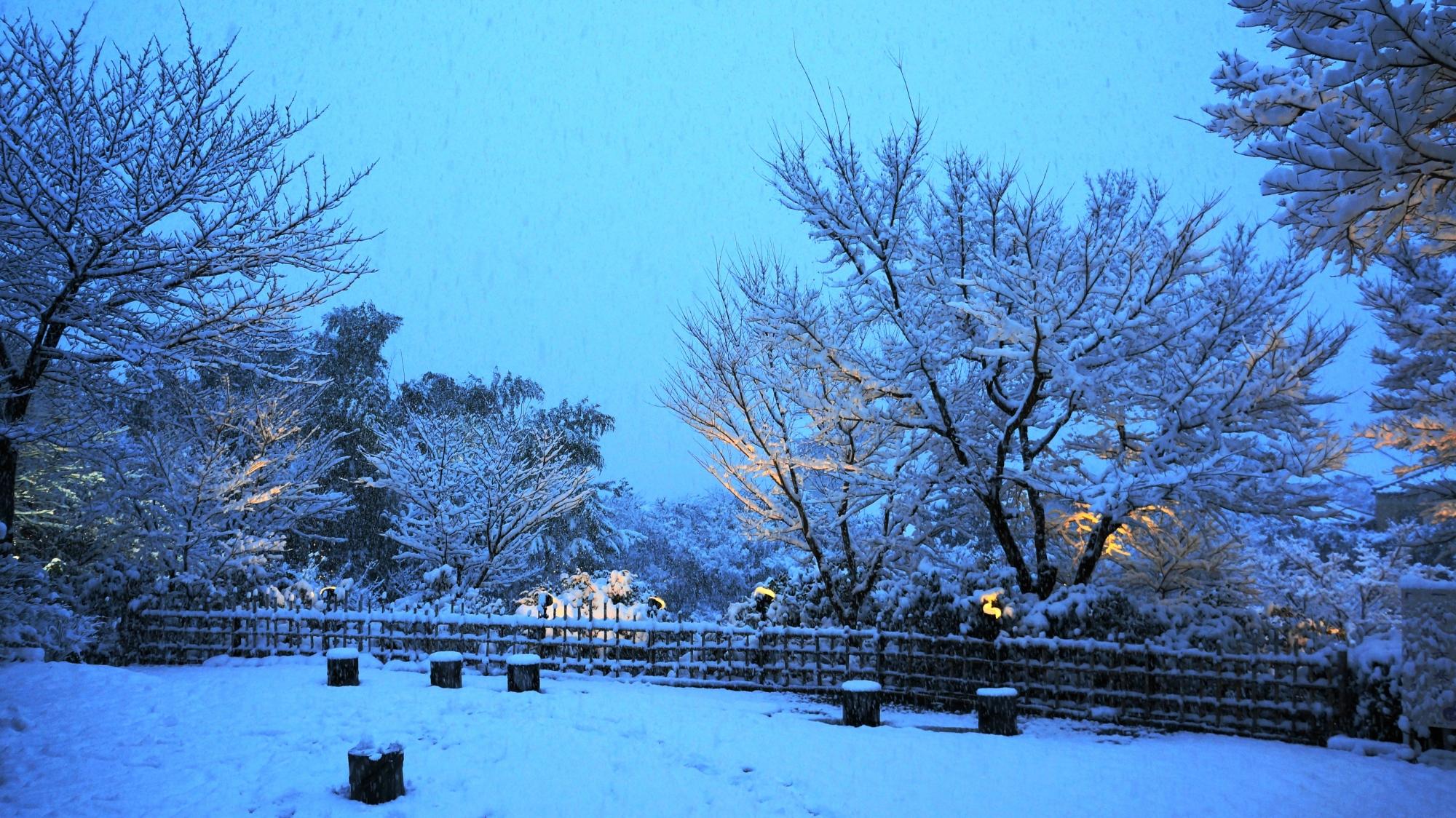 高台寺の境内入口の雪景色