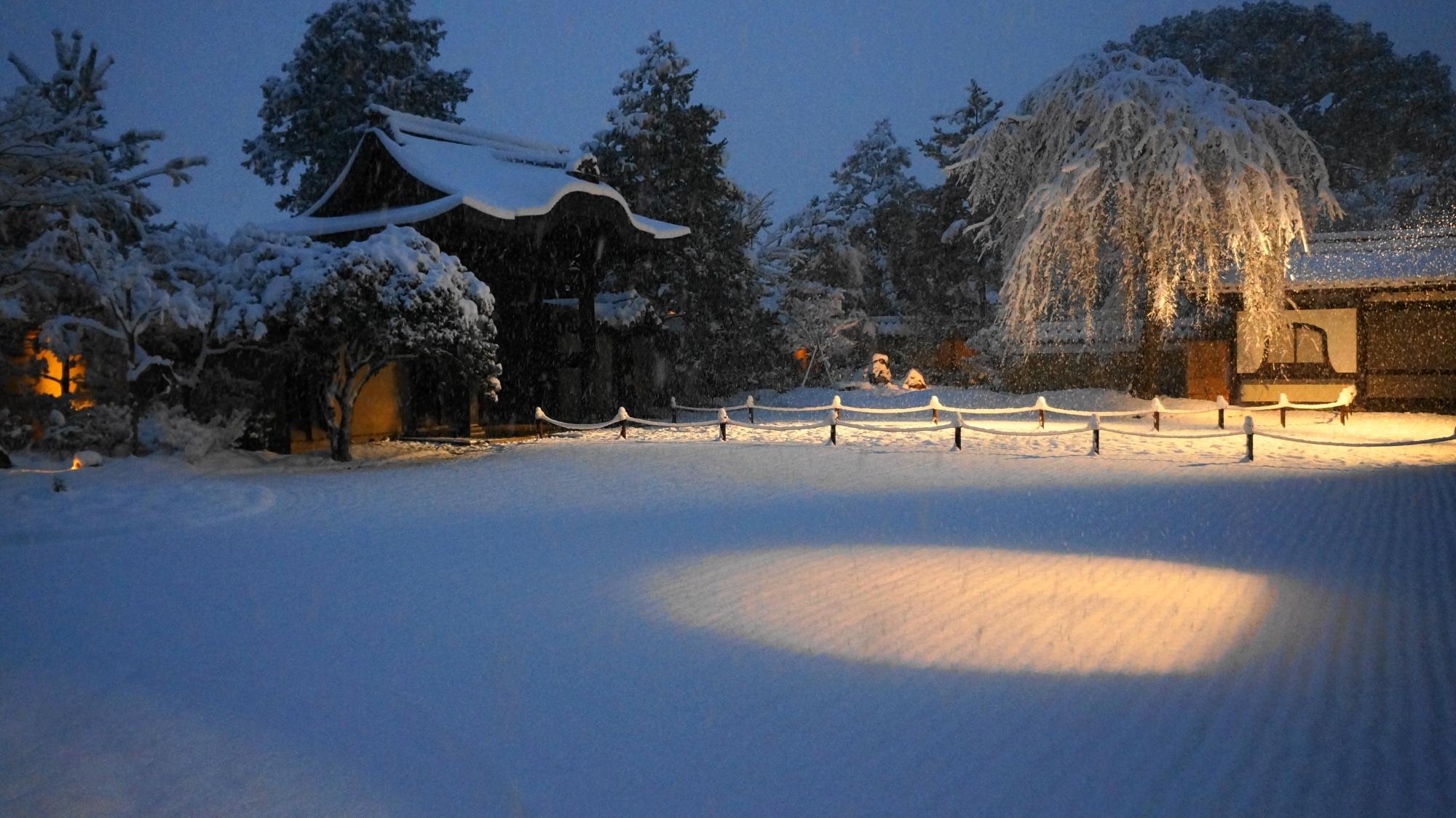 高台寺の雪の方丈庭園の見事なライトアップ