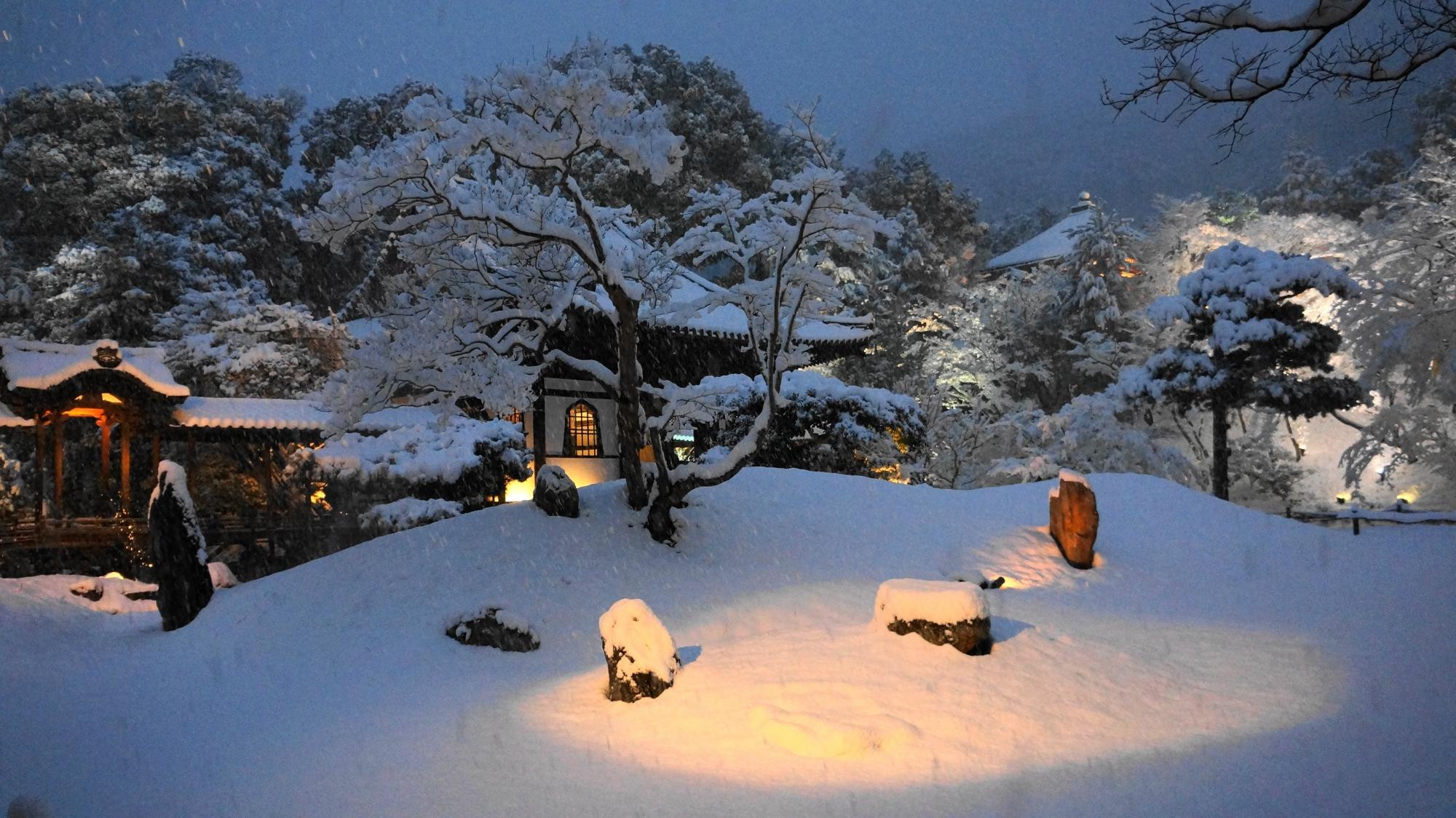 素晴らしい雪景色を演出するライトや明り