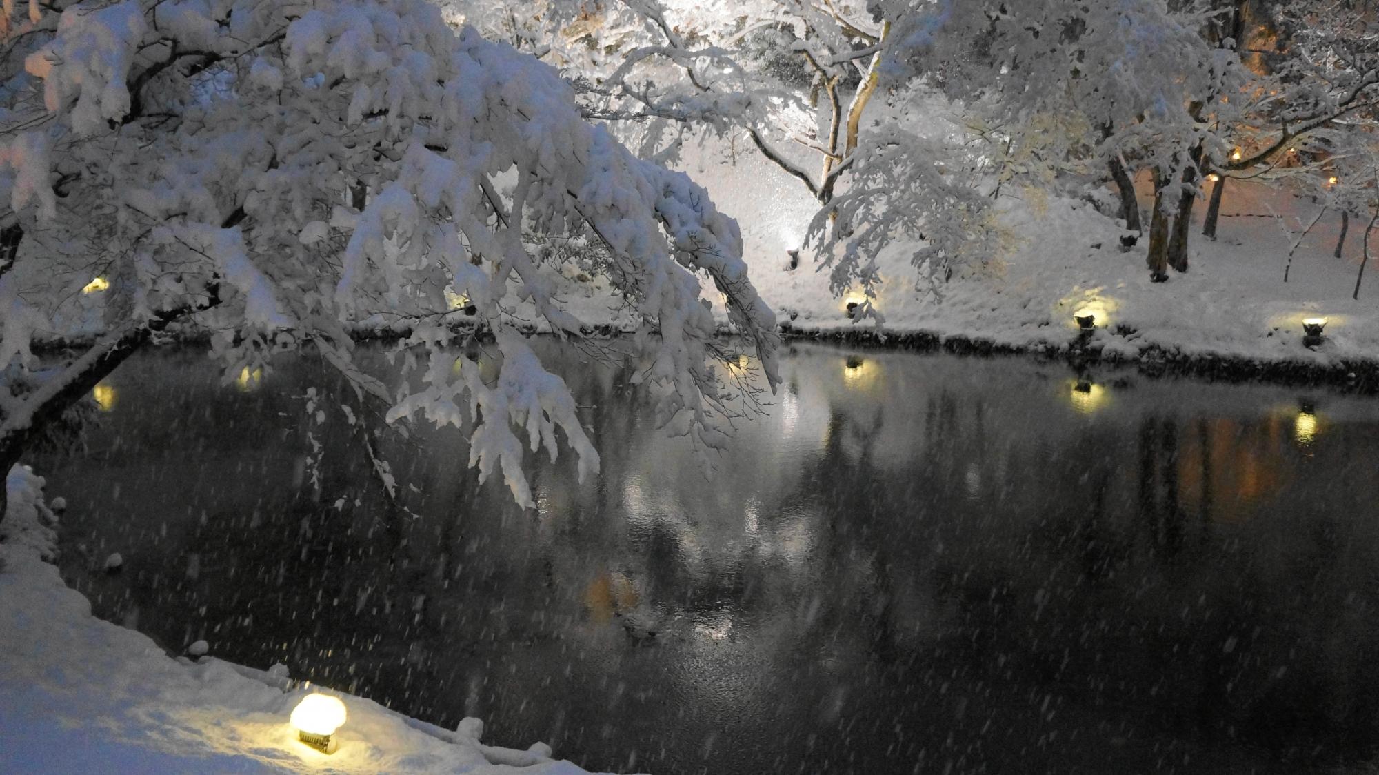 高台寺の美しい雪景色の水鏡