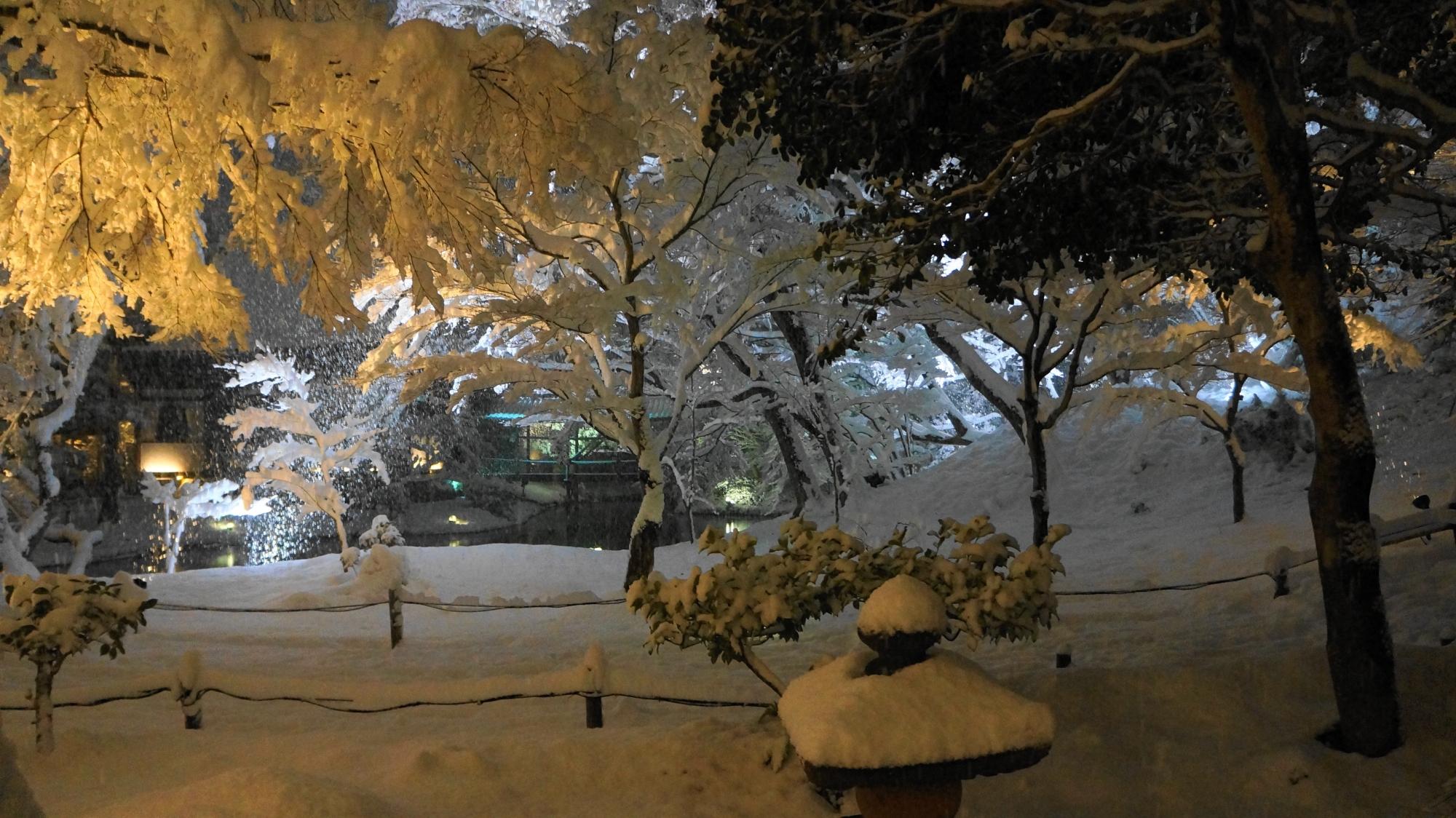高台寺の真っ白に染まった奥深い庭園の雪景色
