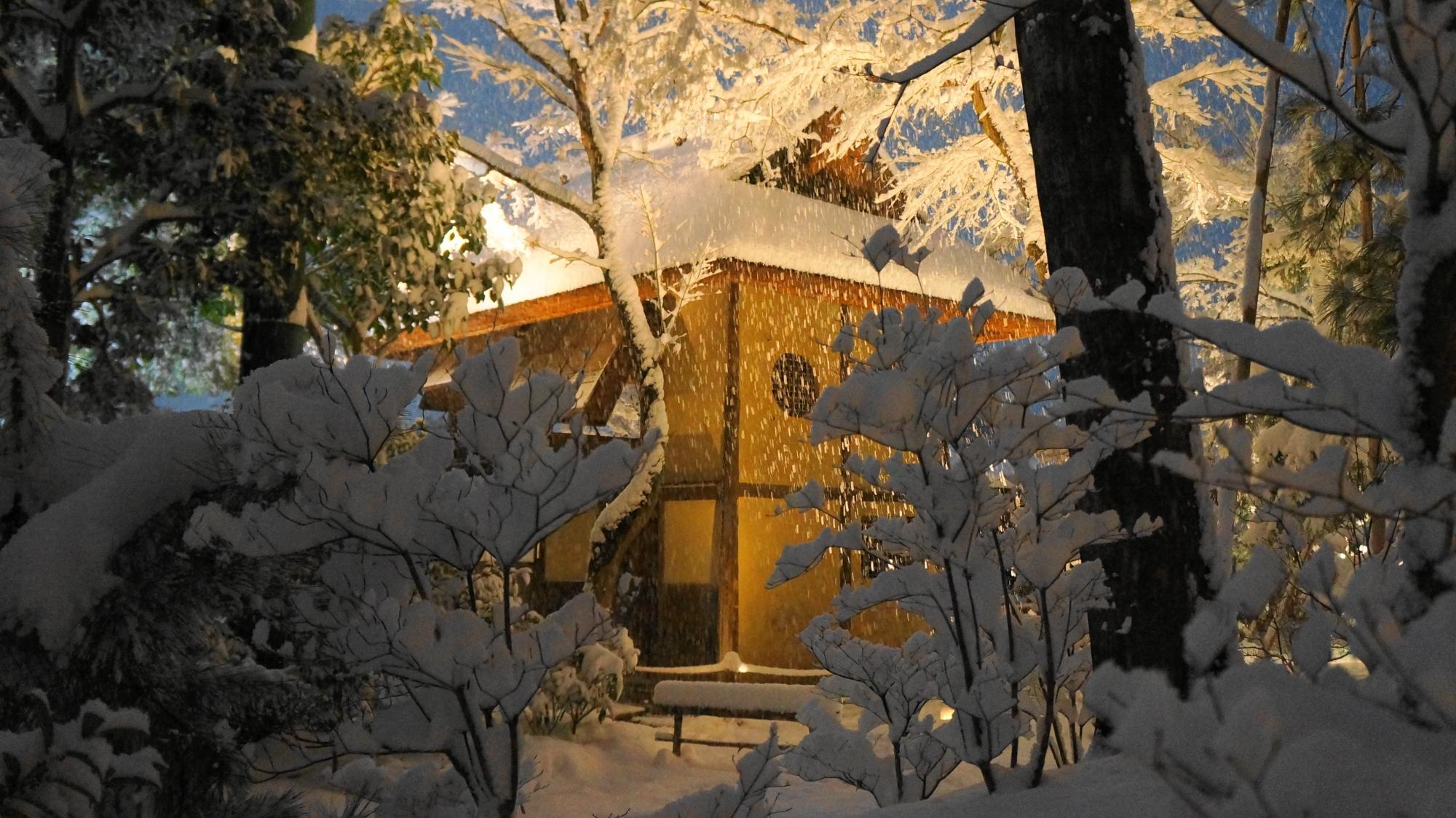 深い雪の中に佇む情緒ある時雨亭