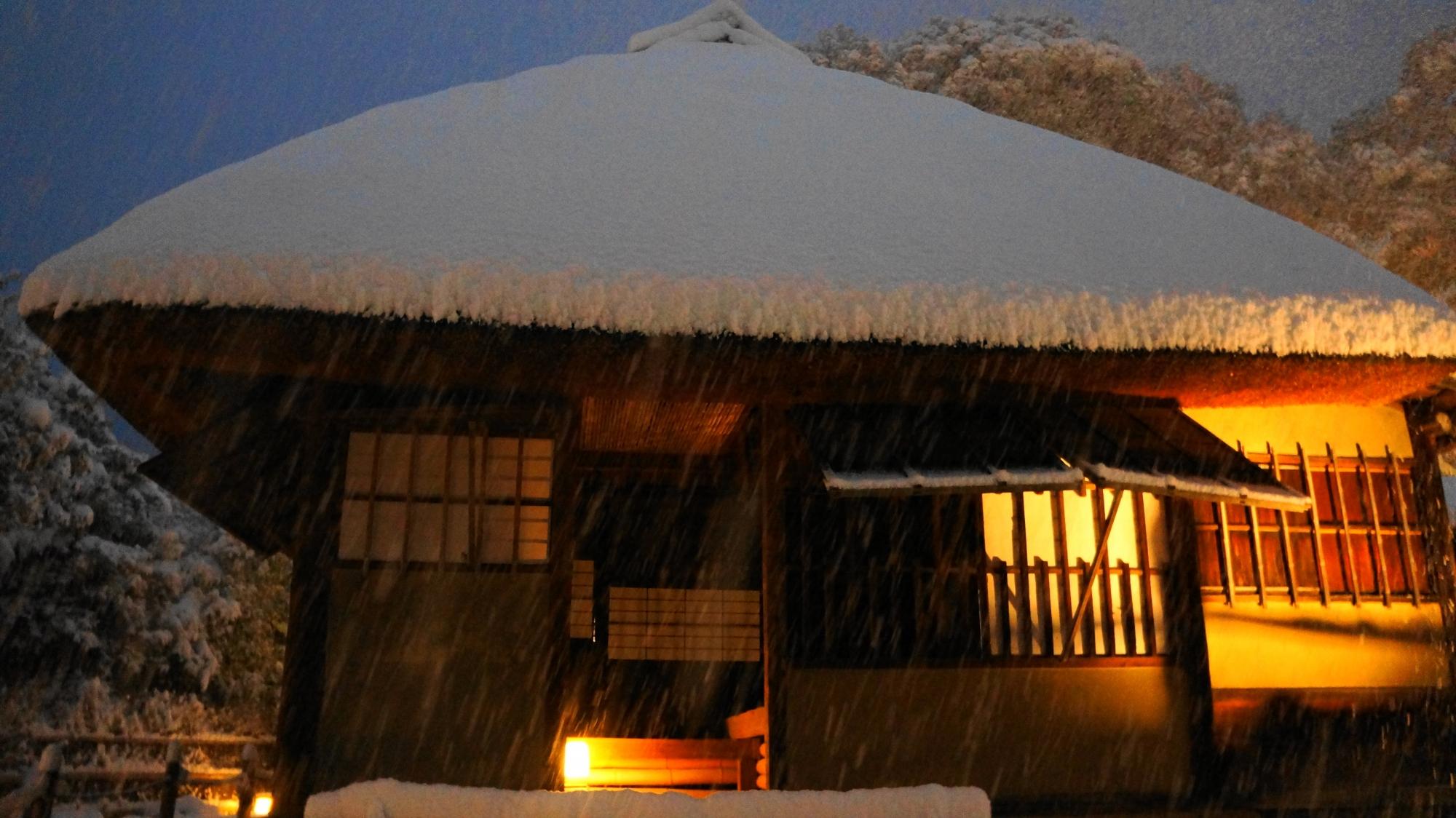 ほのかな明りが引き立てる風情ある雪景色