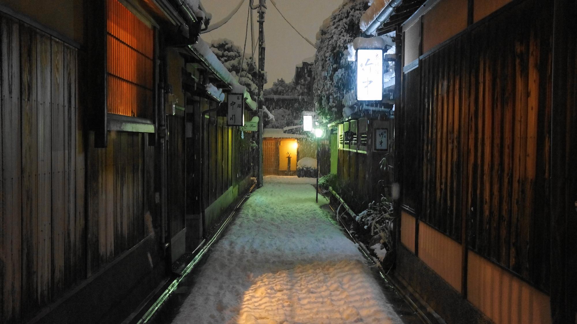 灯りに照らされた雪が幻想的な石塀小路