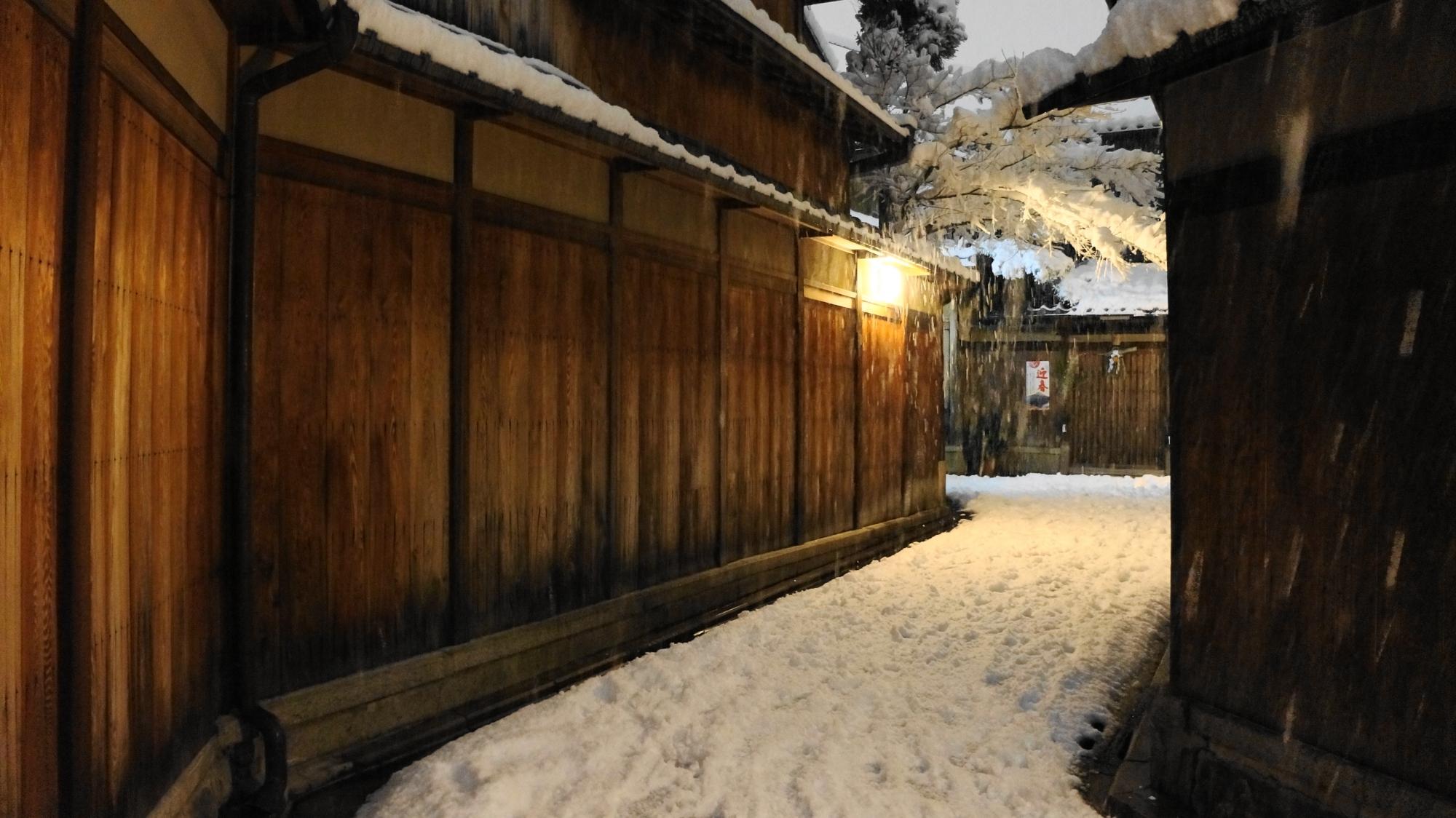 石塀小路の素晴らしい雪景色