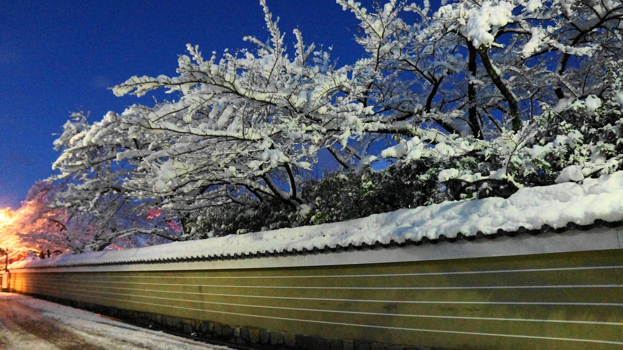 建仁寺の花見小路通沿いの雪景色