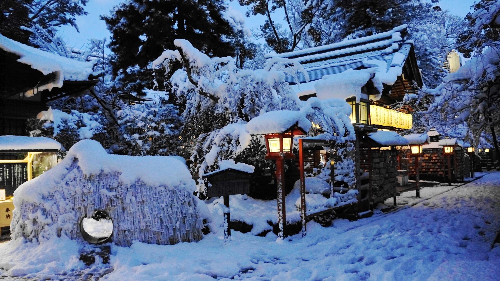 安井金比羅宮の素晴らしい雪景色