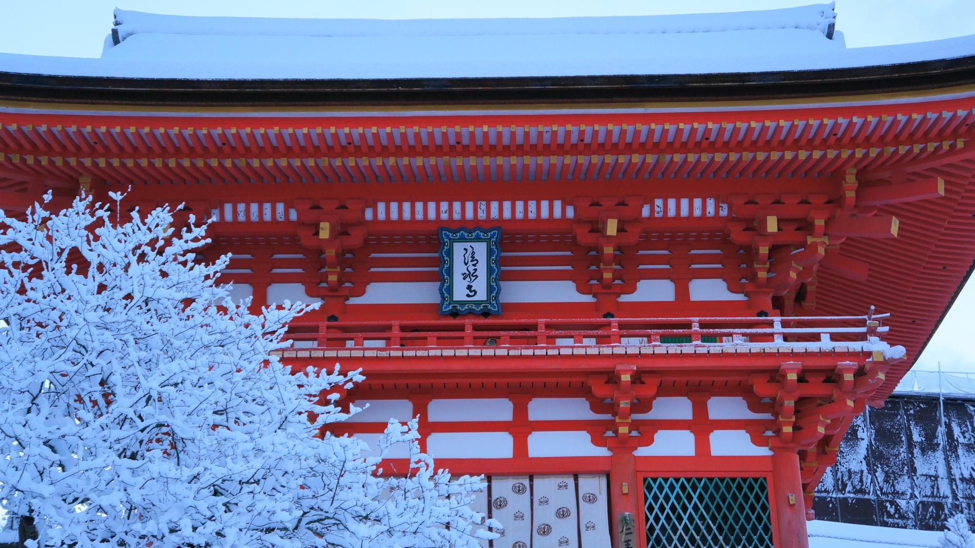 真っ白な雪に映える清水寺の朱色の仁王門