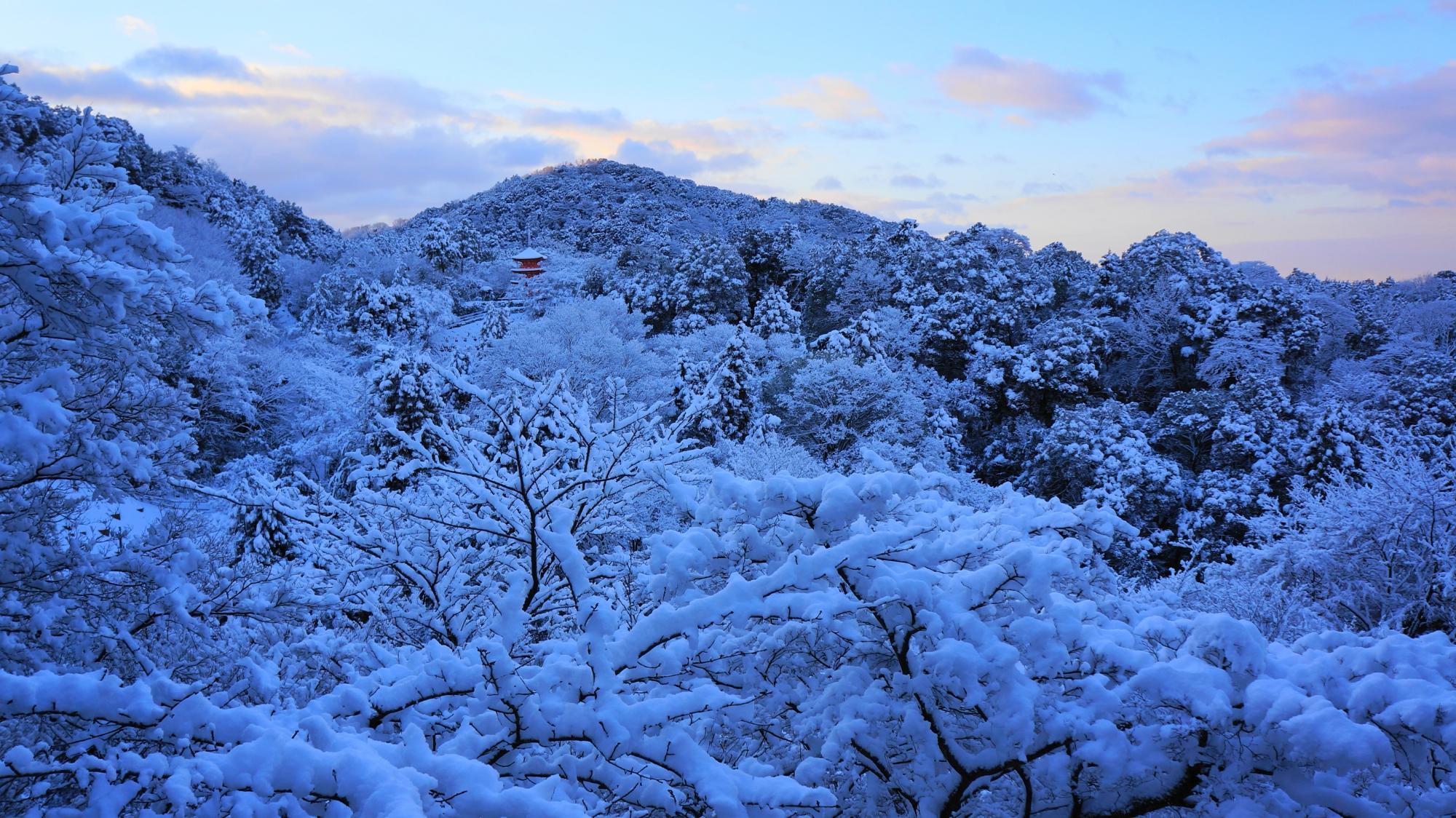 清水寺の舞台から眺める銀世界の山々や木々