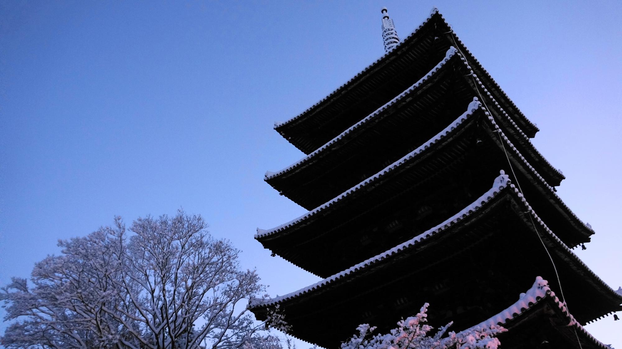 澄みきった空気と静寂の中に佇む五重塔