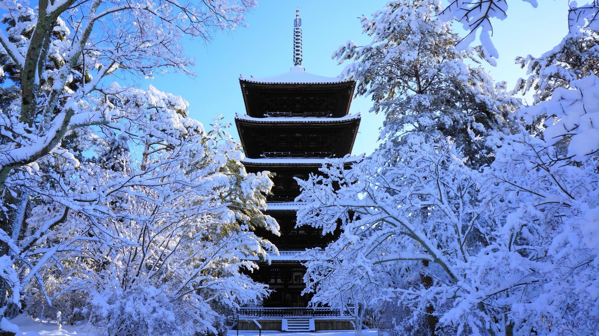 仁和寺の五重塔の雪景色