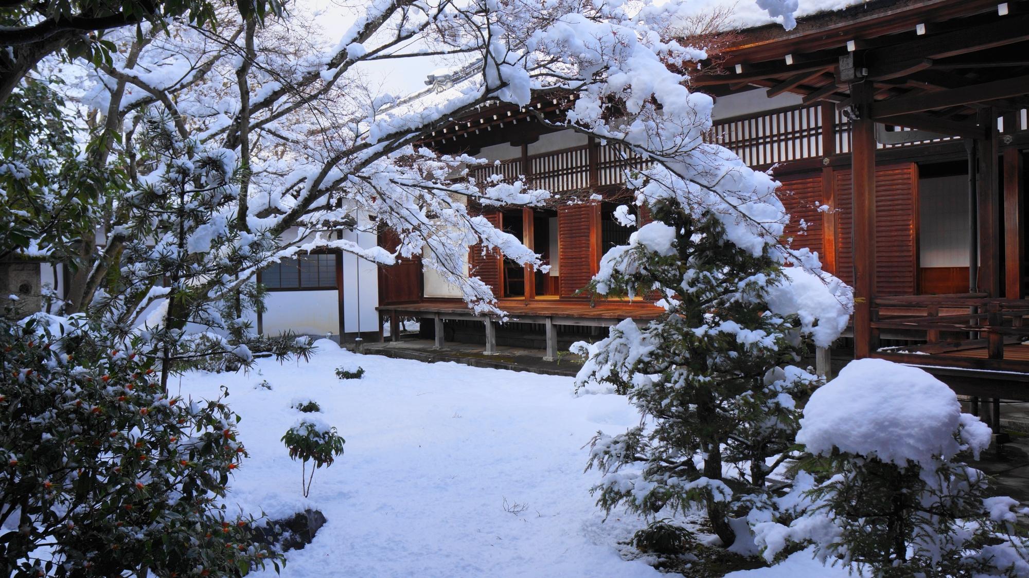 仁和寺の黒書院前庭園の雪景色