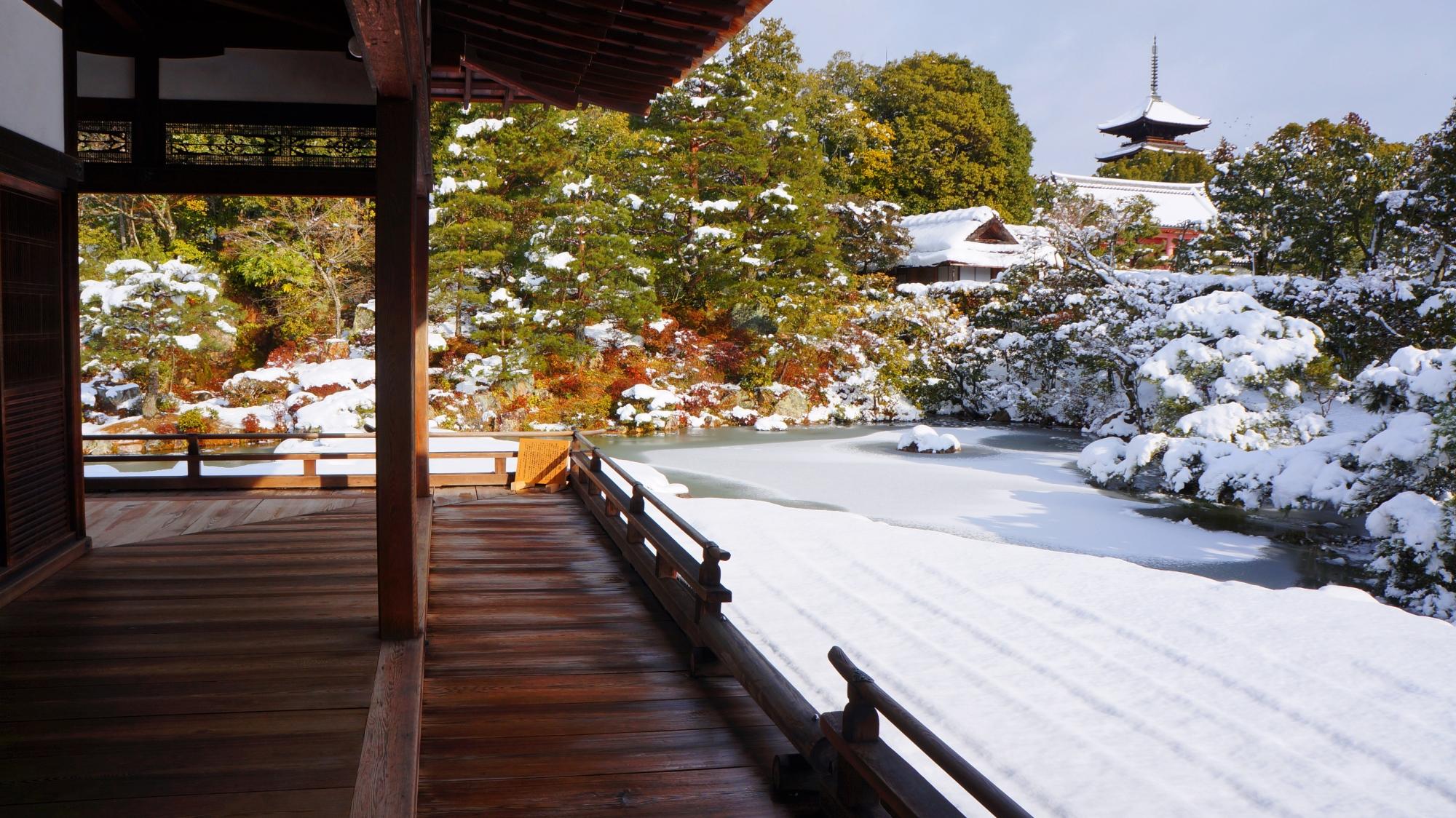 仁和寺の五重塔と庭園の風景