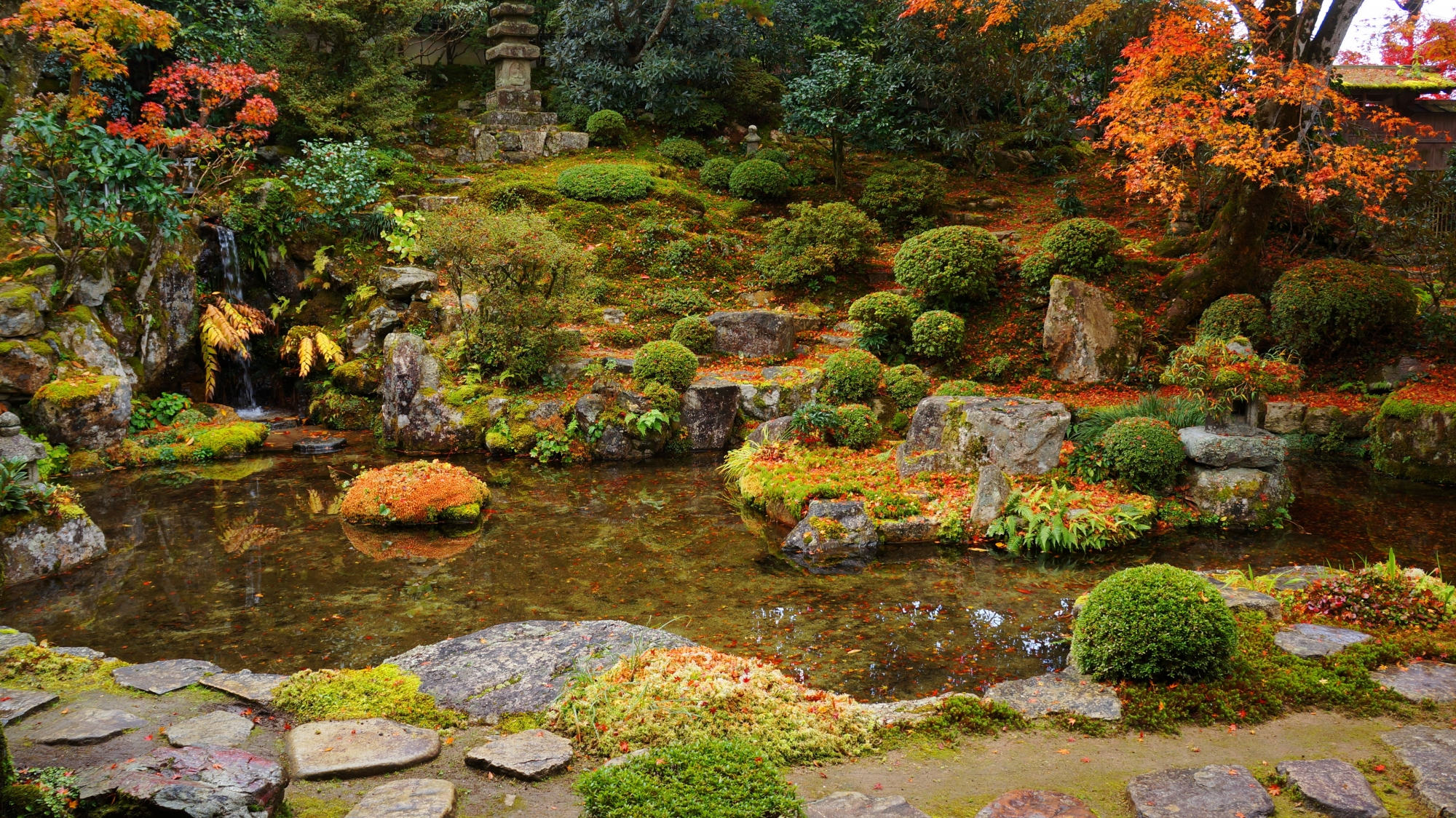 淡い秋色につつまれた庭園全体
