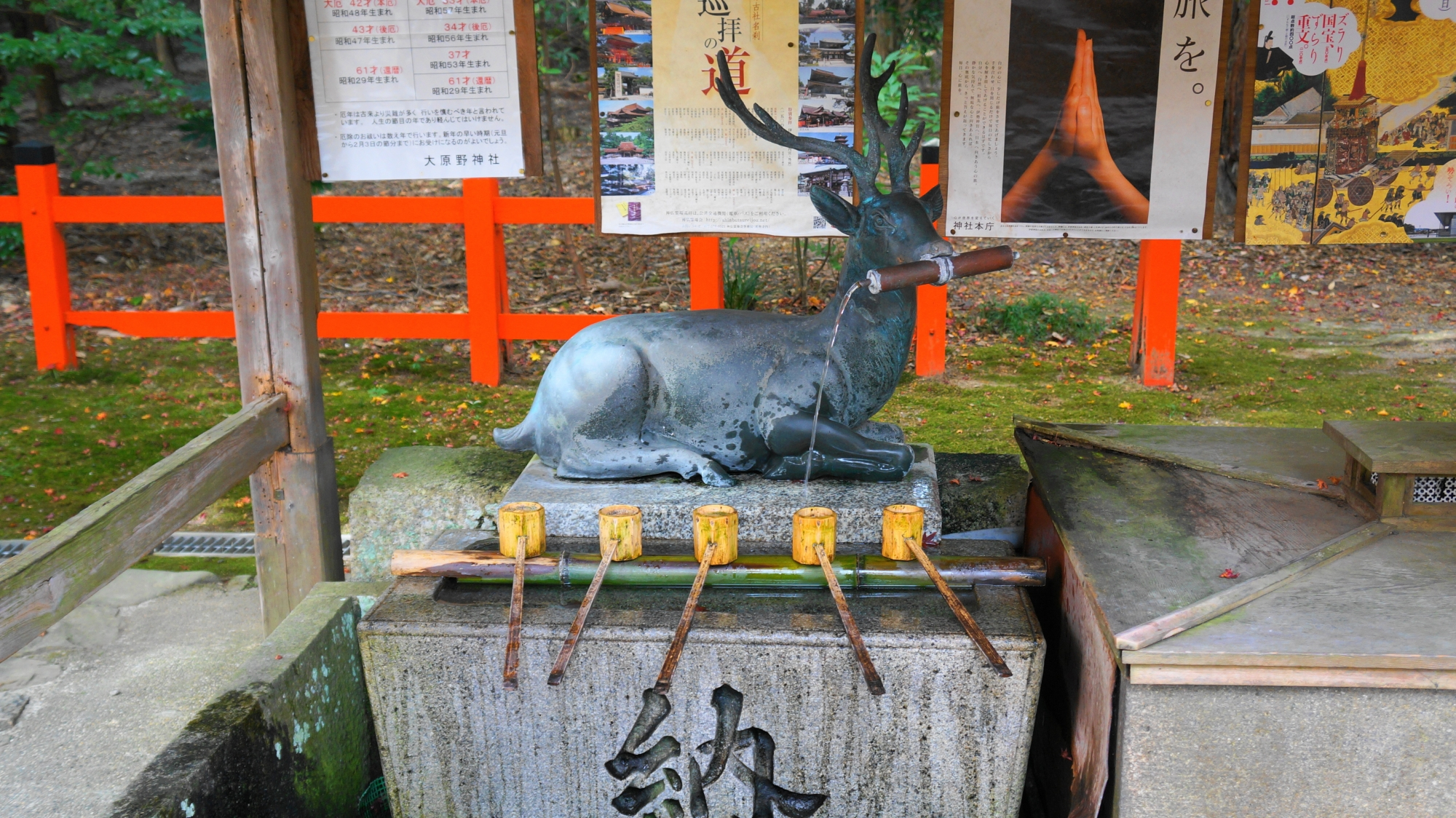 大原野神社の鹿の手水舎
