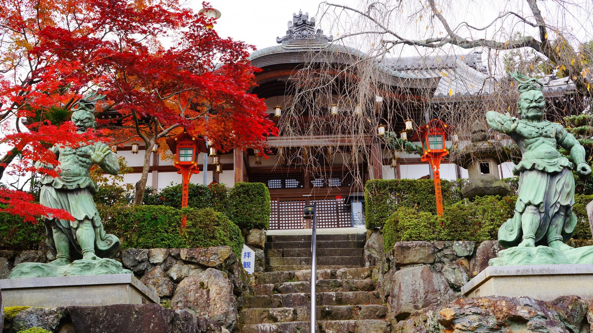 正法寺の絵になる鮮烈な秋の彩り