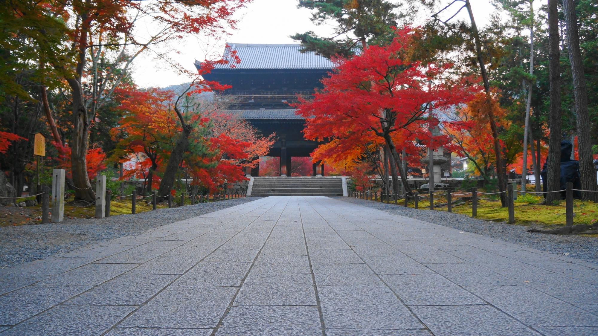南禅寺の雄大な三門と鮮やかな紅葉