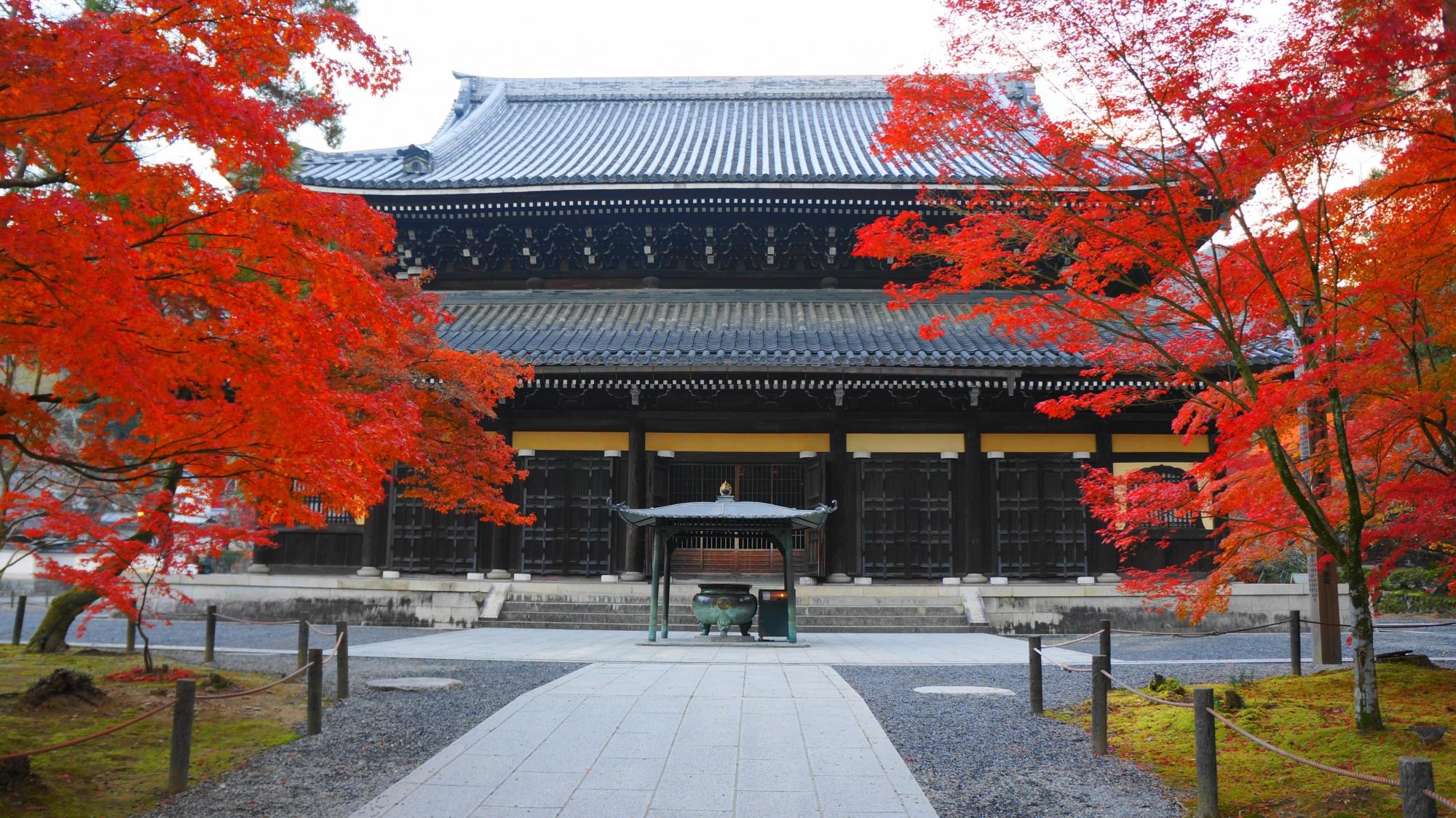 独特の色合いの南禅寺の法堂を染める鮮やかな紅葉