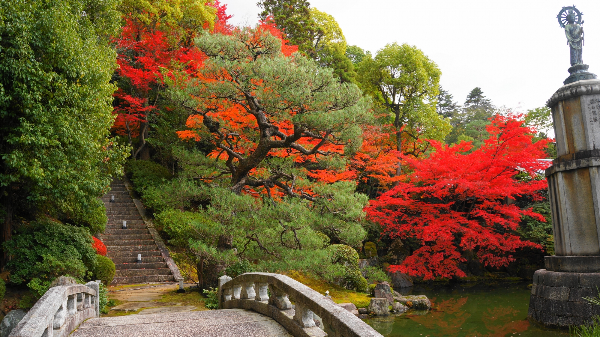 石橋と補陀落池を彩る優雅なも紅葉