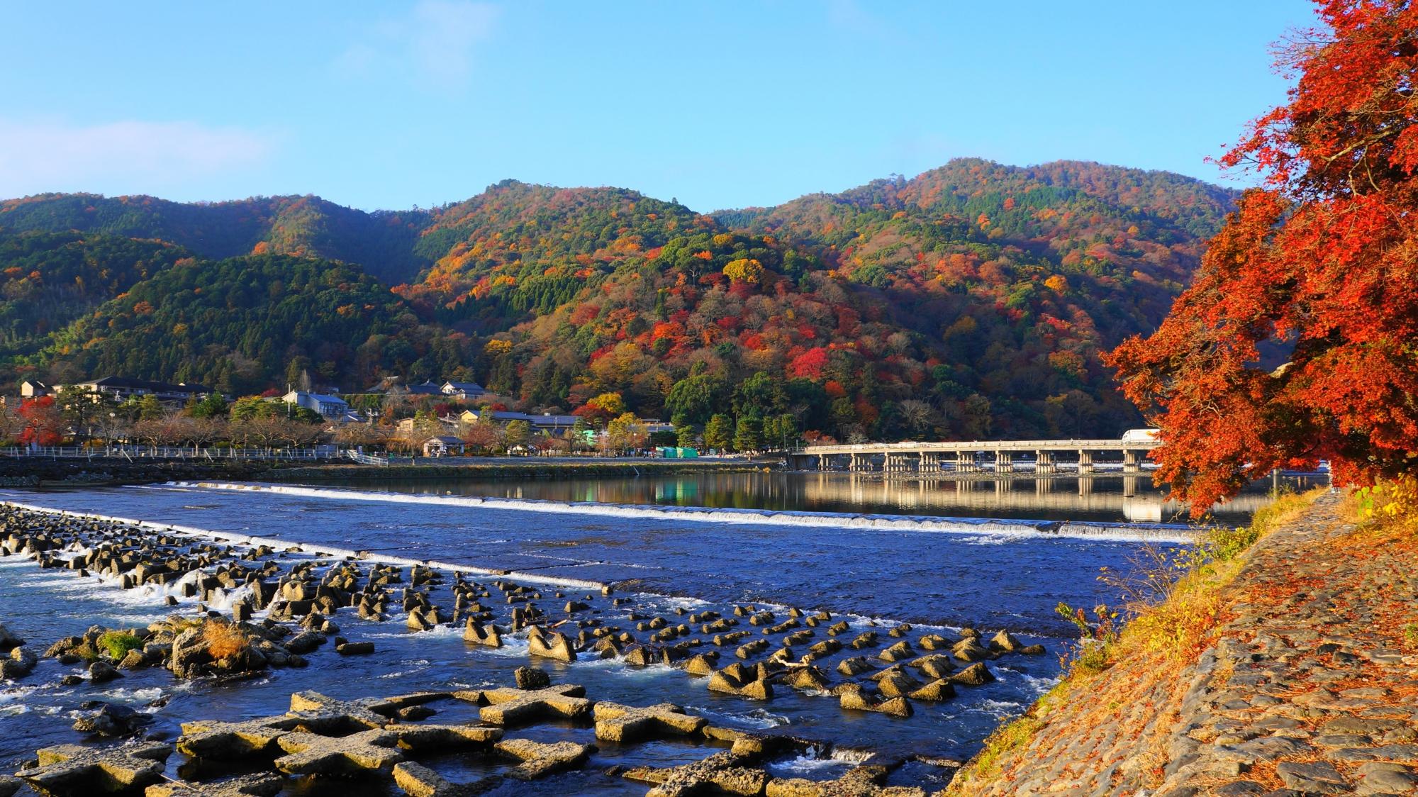 嵐山と渡月橋の紅葉