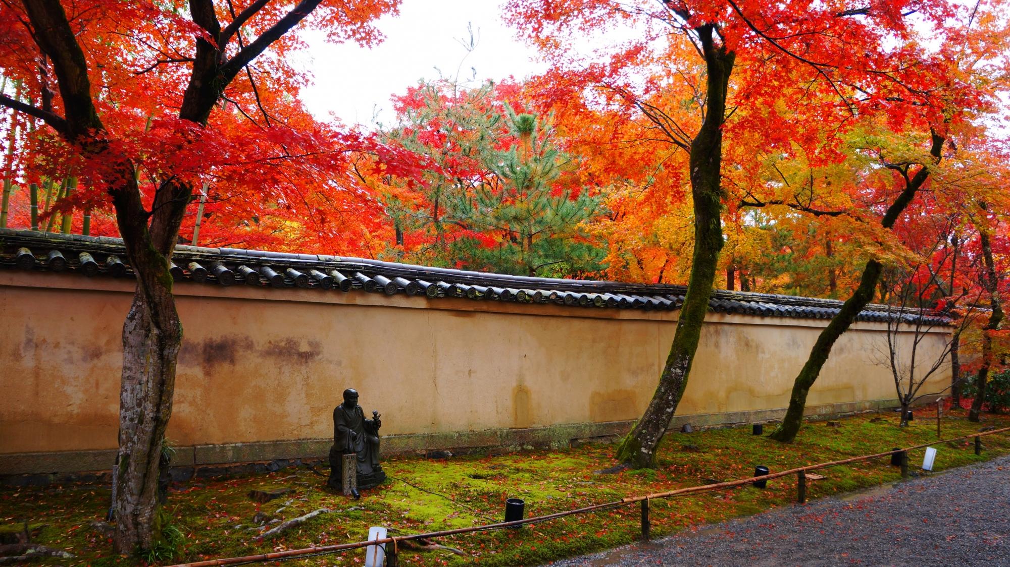 宝厳院の山門前の紅葉の参道