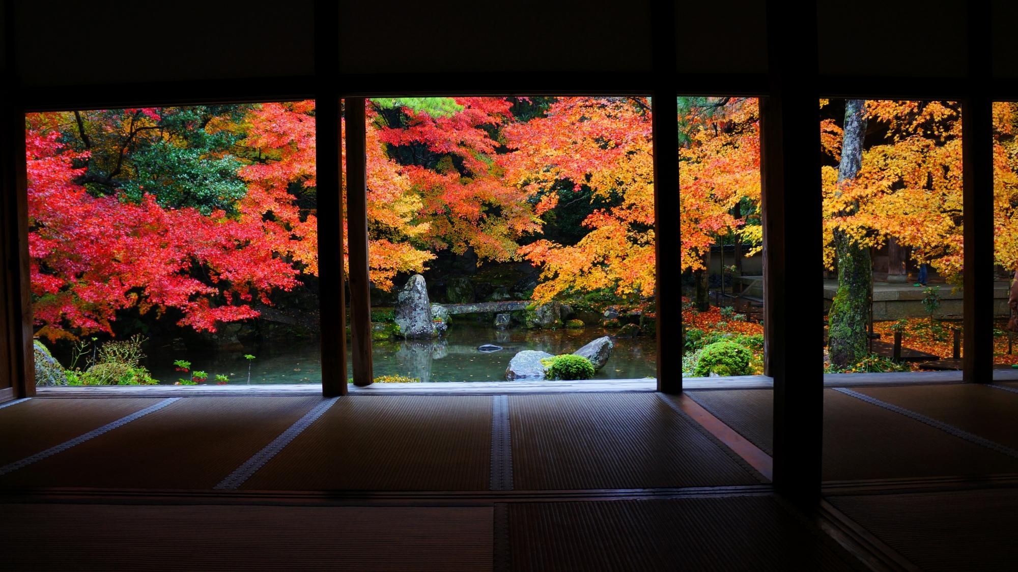 連華寺の素晴らしい紅葉と情景
