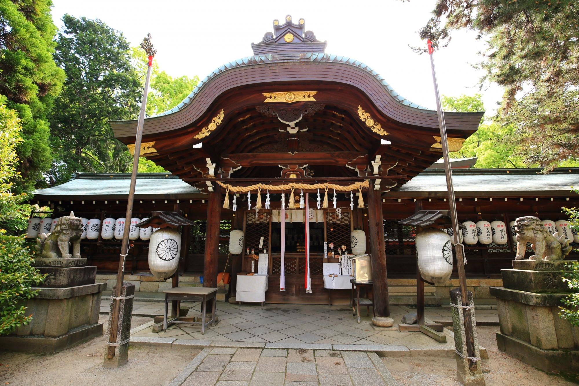 立派な構えをした上御霊神社の本殿